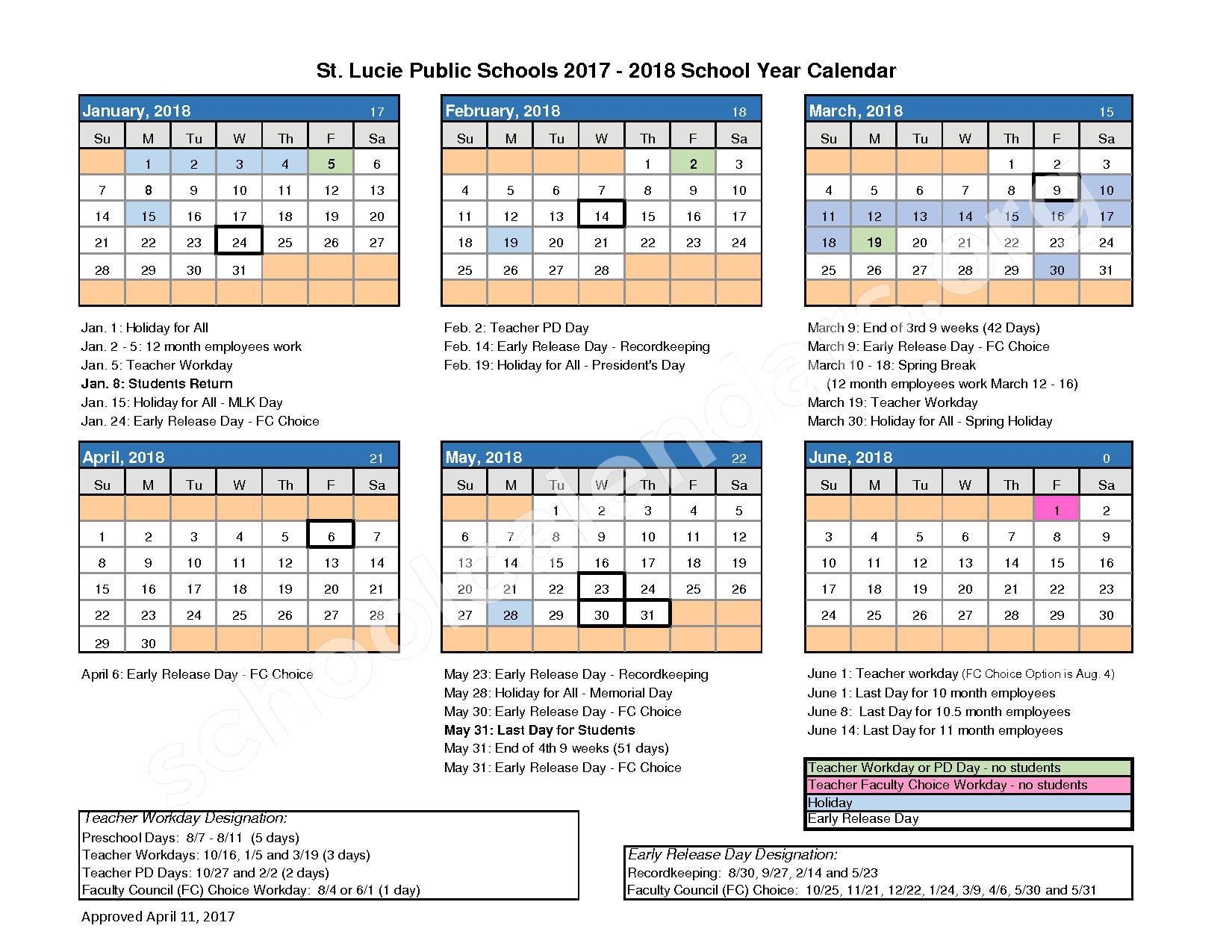 St. Lucie West Centennial High School Calendars – Port St Lucie, FL