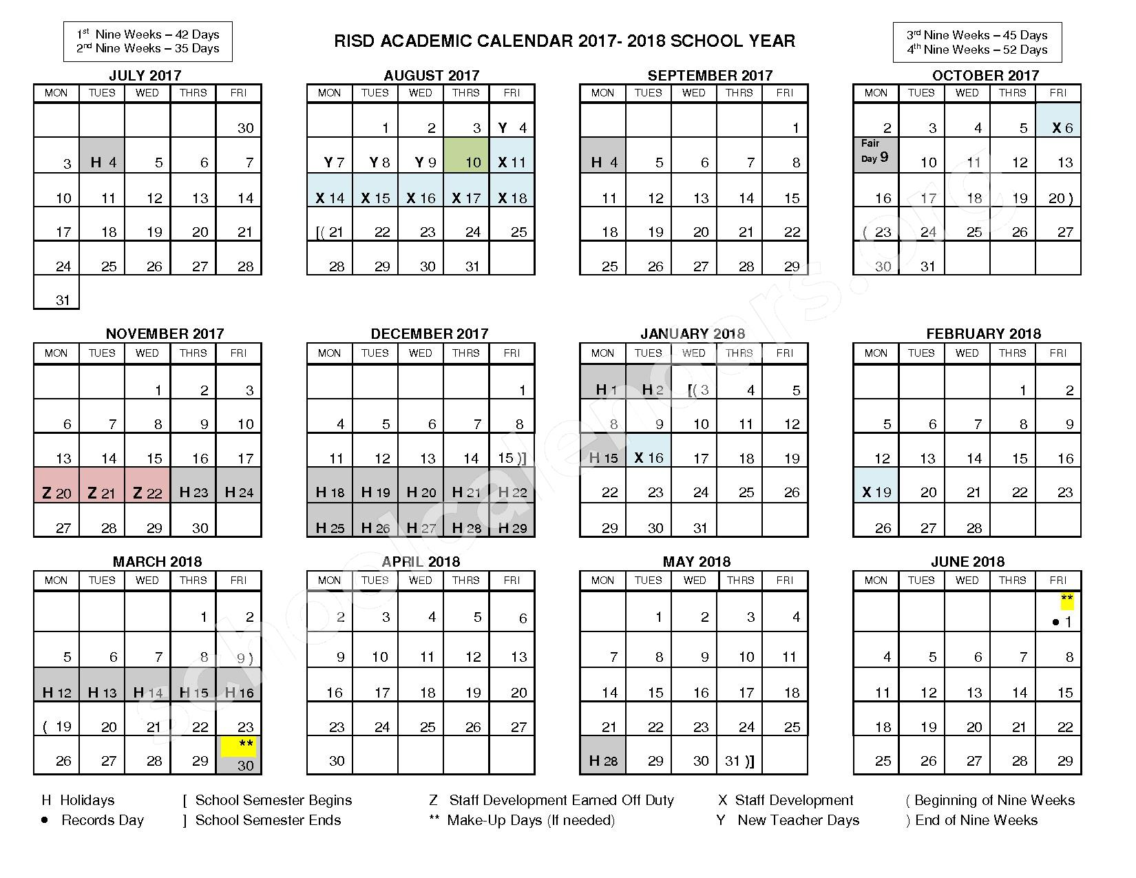 2017 - 2018 RISD Academic Calendar – Lake Highlands Junior High School – page 1