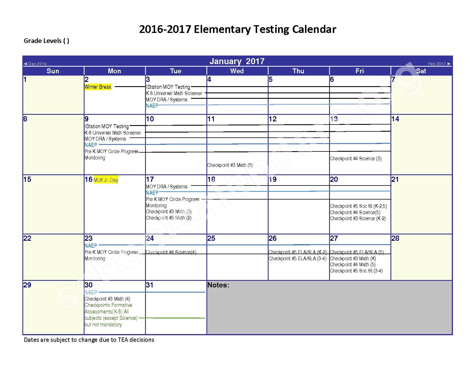 2016 - 2017 District Calendar – Spring Independent School District – page 1