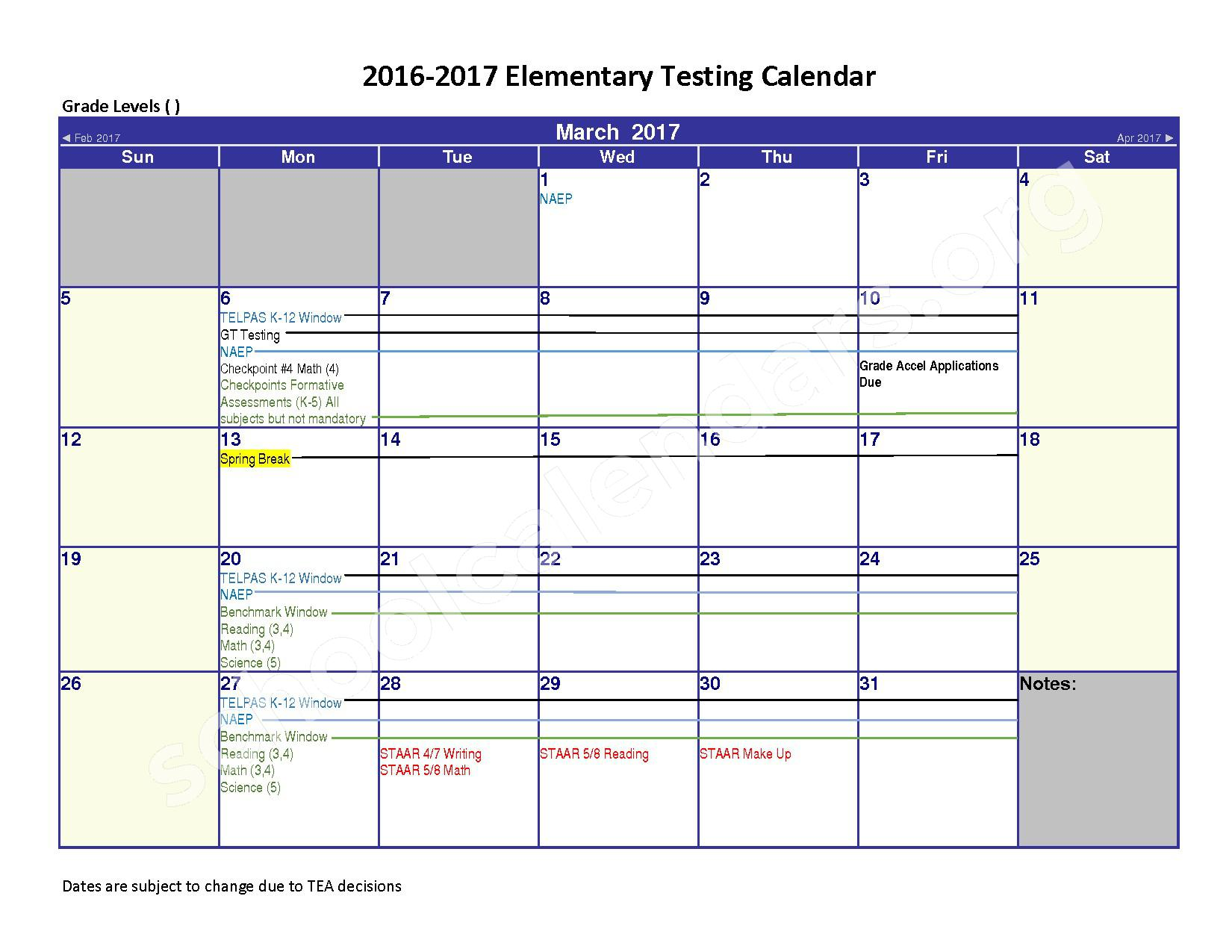 2016 - 2017 District Calendar – Spring Independent School District – page 3