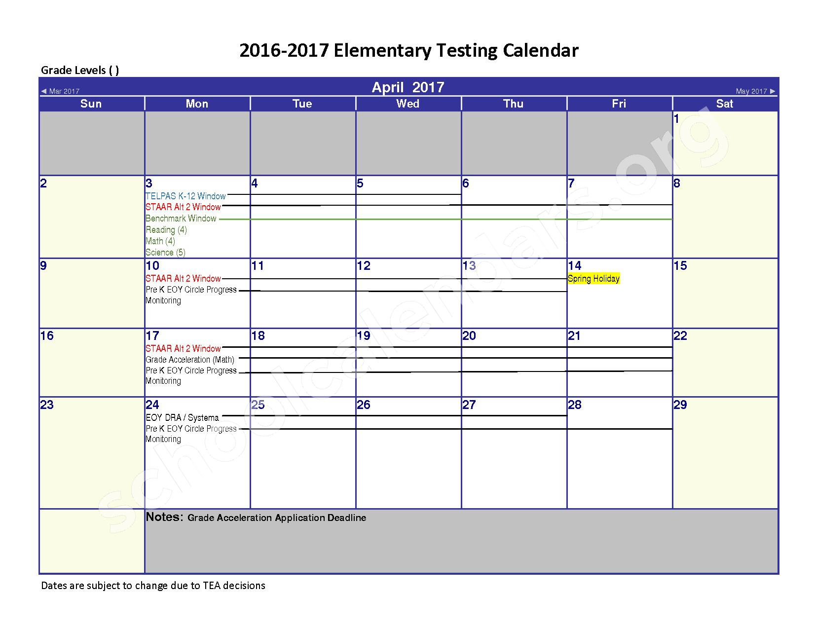 2016 - 2017 District Calendar – Spring Independent School District – page 4