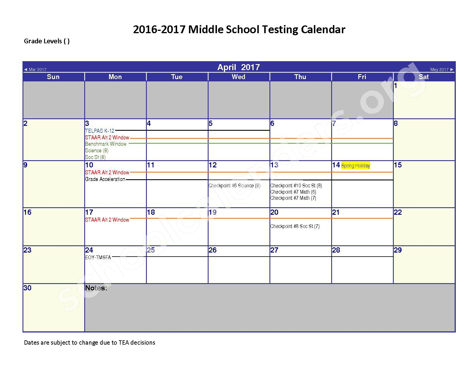 2016 - 2017 District Calendar – Spring Independent School District – page 4