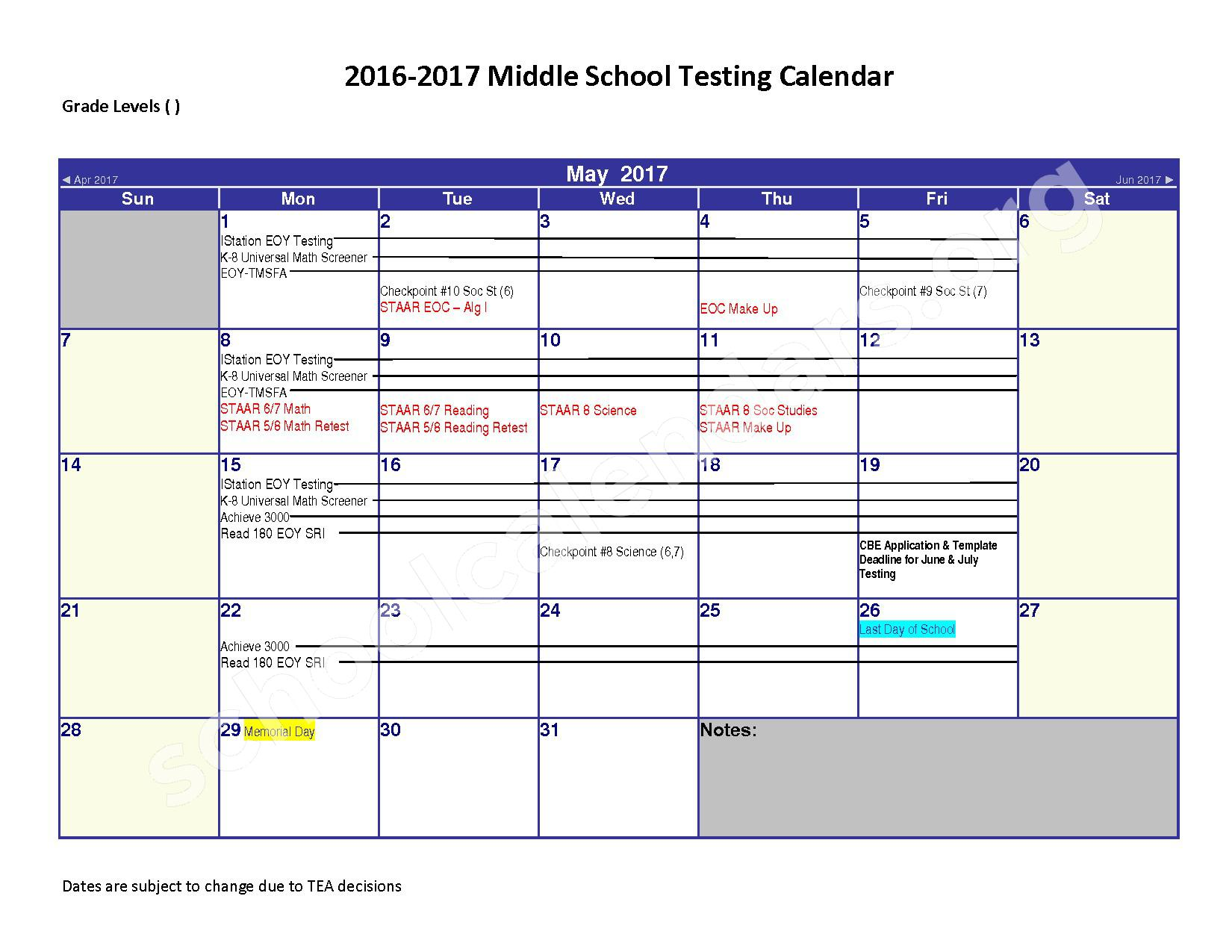 2016 - 2017 District Calendar – Spring Independent School District – page 5