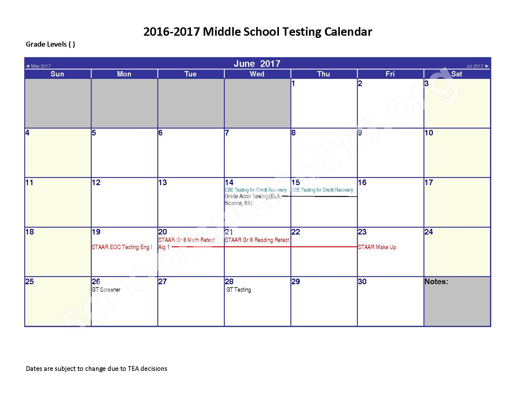 2016 - 2017 District Calendar – Spring Independent School District – page 6