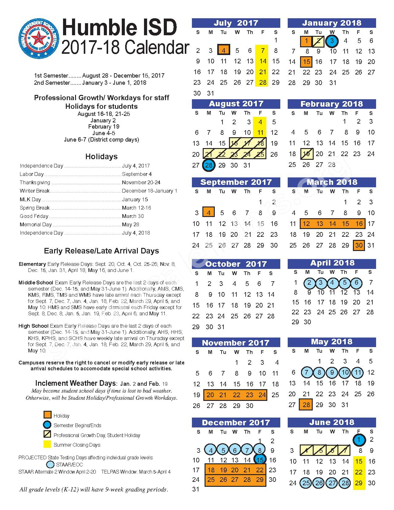 2017 - 2018 Humble ISD Calendar – Early Learning Wing – page 1