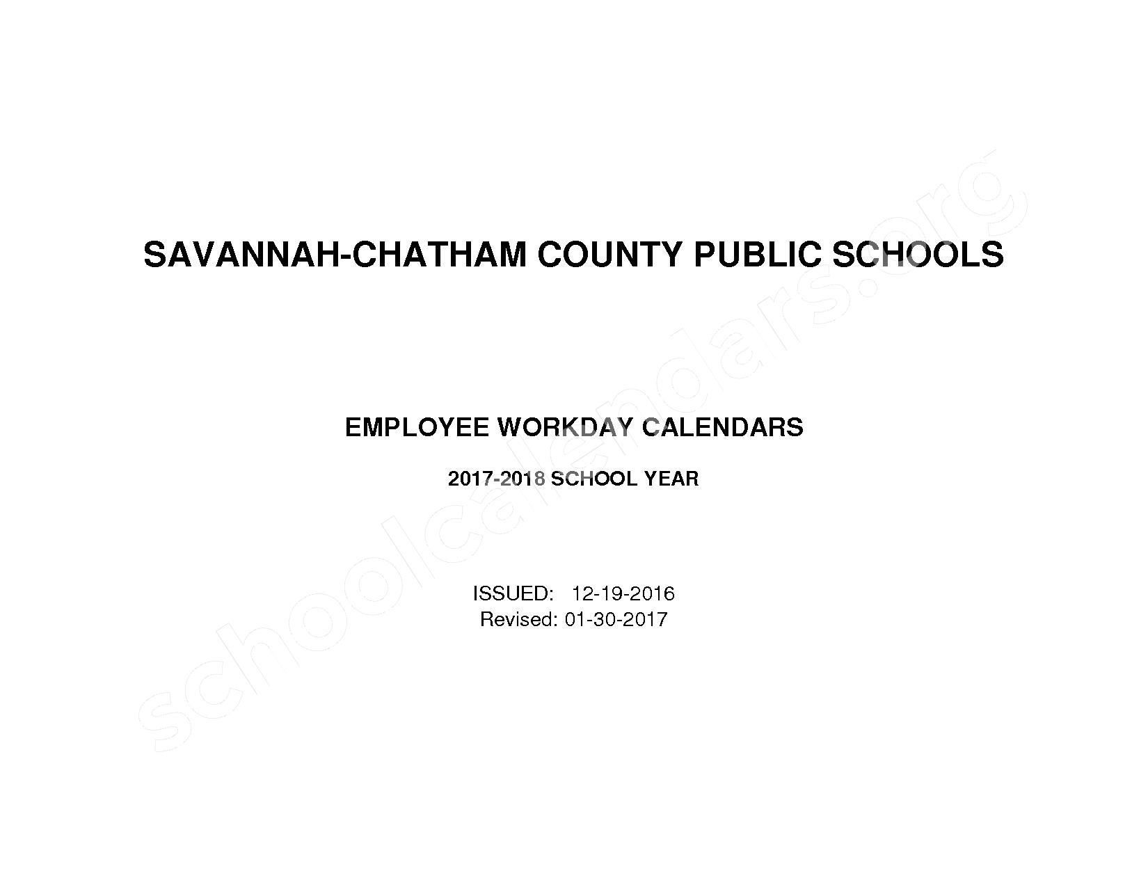 2017 - 2018 Employee Workday Calendar – Shuman Elementary School – page 1