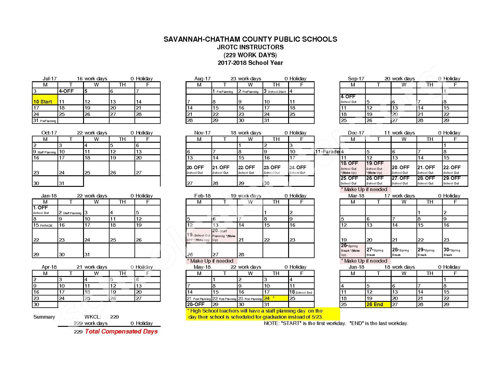 2017 - 2018 Employee Workday Calendar – Chatham County School District – page 12