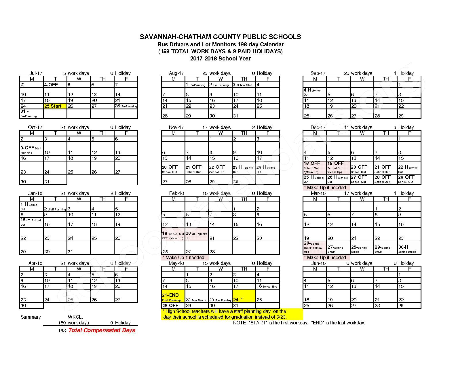 2017 - 2018 Employee Workday Calendar – Shuman Elementary School – page 13