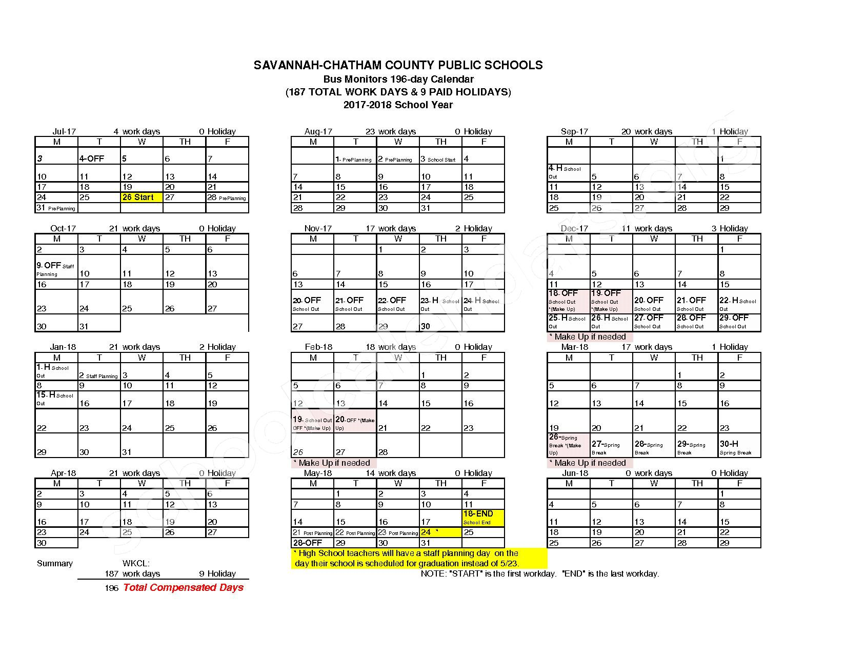 2017 - 2018 Employee Workday Calendar – Shuman Elementary School – page 14