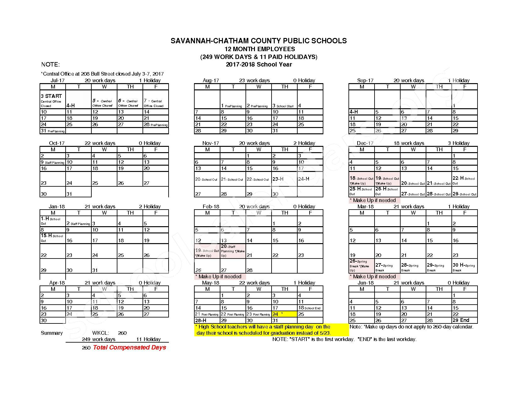 2017 - 2018 Employee Workday Calendar – Shuman Elementary School – page 2