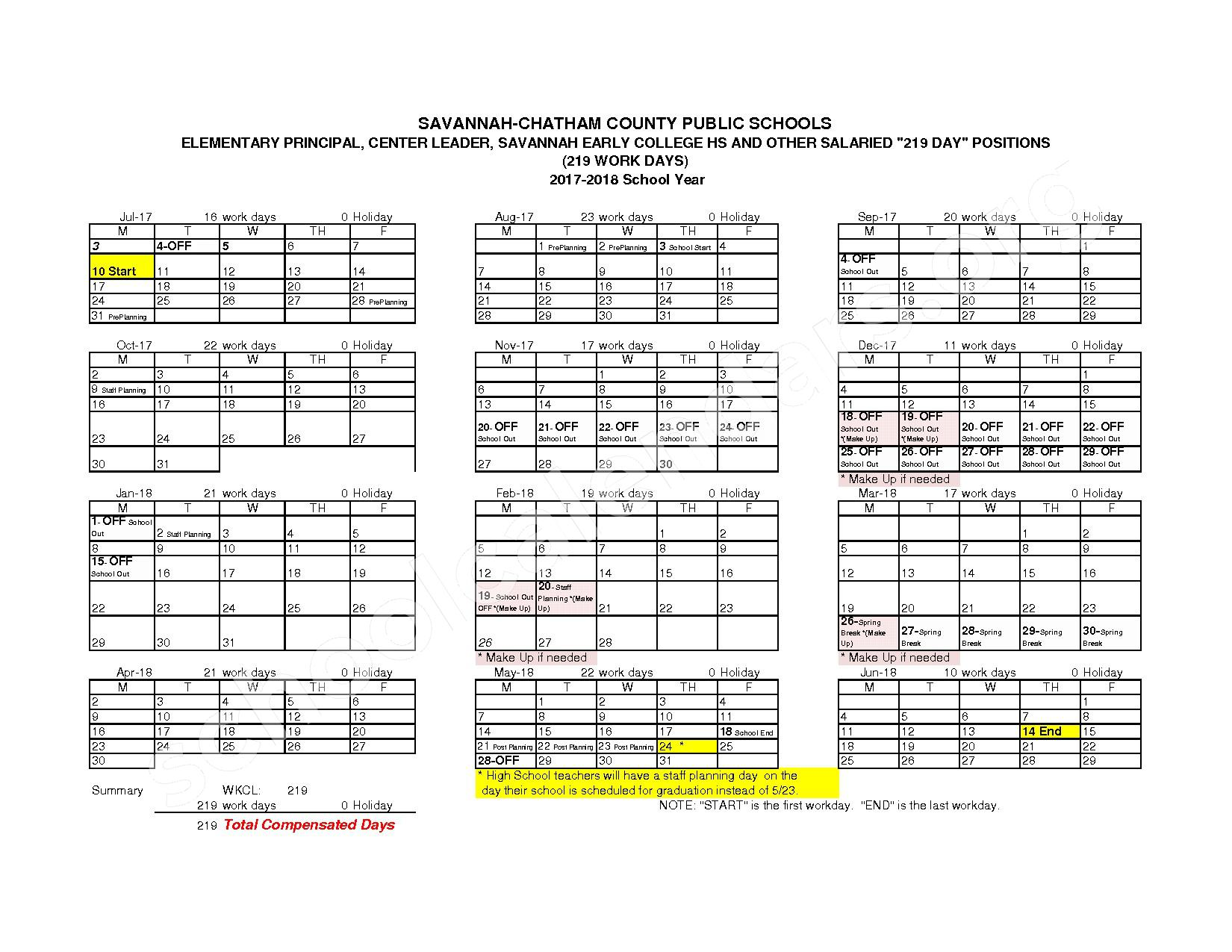 2017 - 2018 Employee Workday Calendar – Shuman Elementary School – page 4