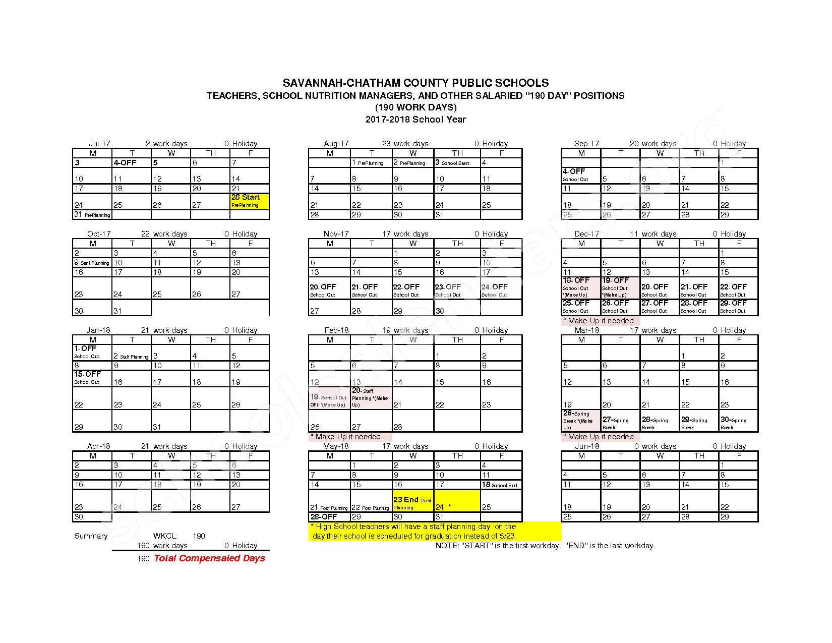 2017 - 2018 Employee Workday Calendar – Chatham County School District – page 6