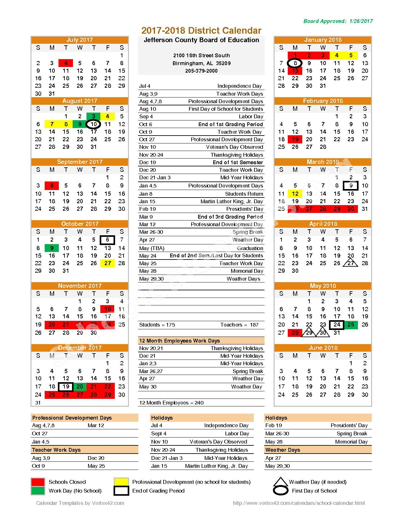 2017 - 2018 District Calendar – Clay-Chalkville High School – page 1