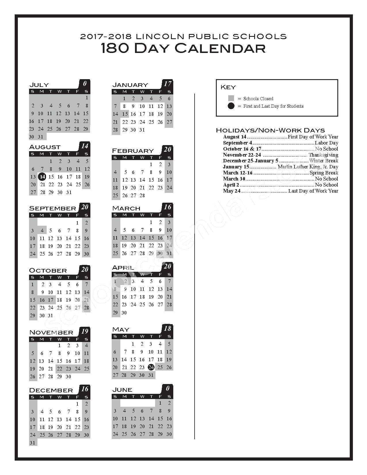 2017 - 2018 180-day Calendar – Lincoln Public Schools – page 1