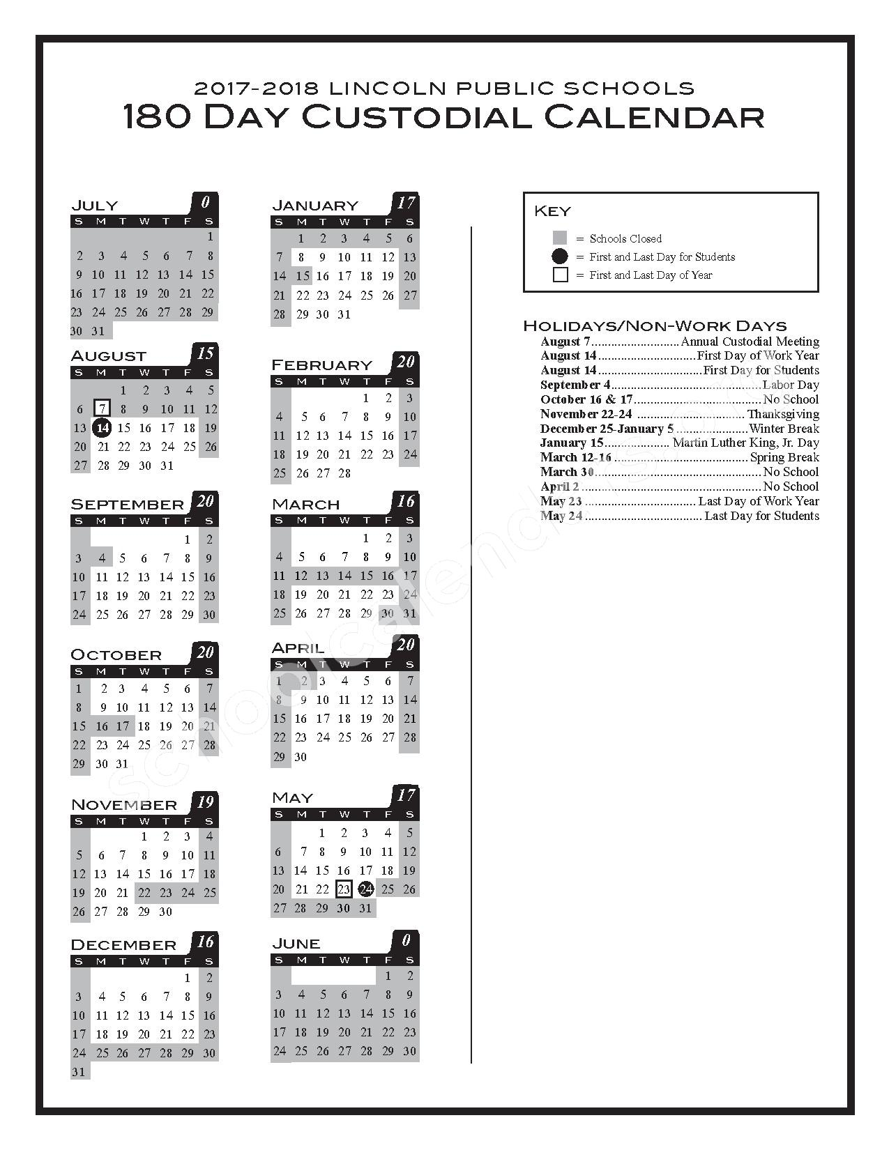 2017 - 2018 180-day Custodial Calendar – Lincoln Public Schools – page 1