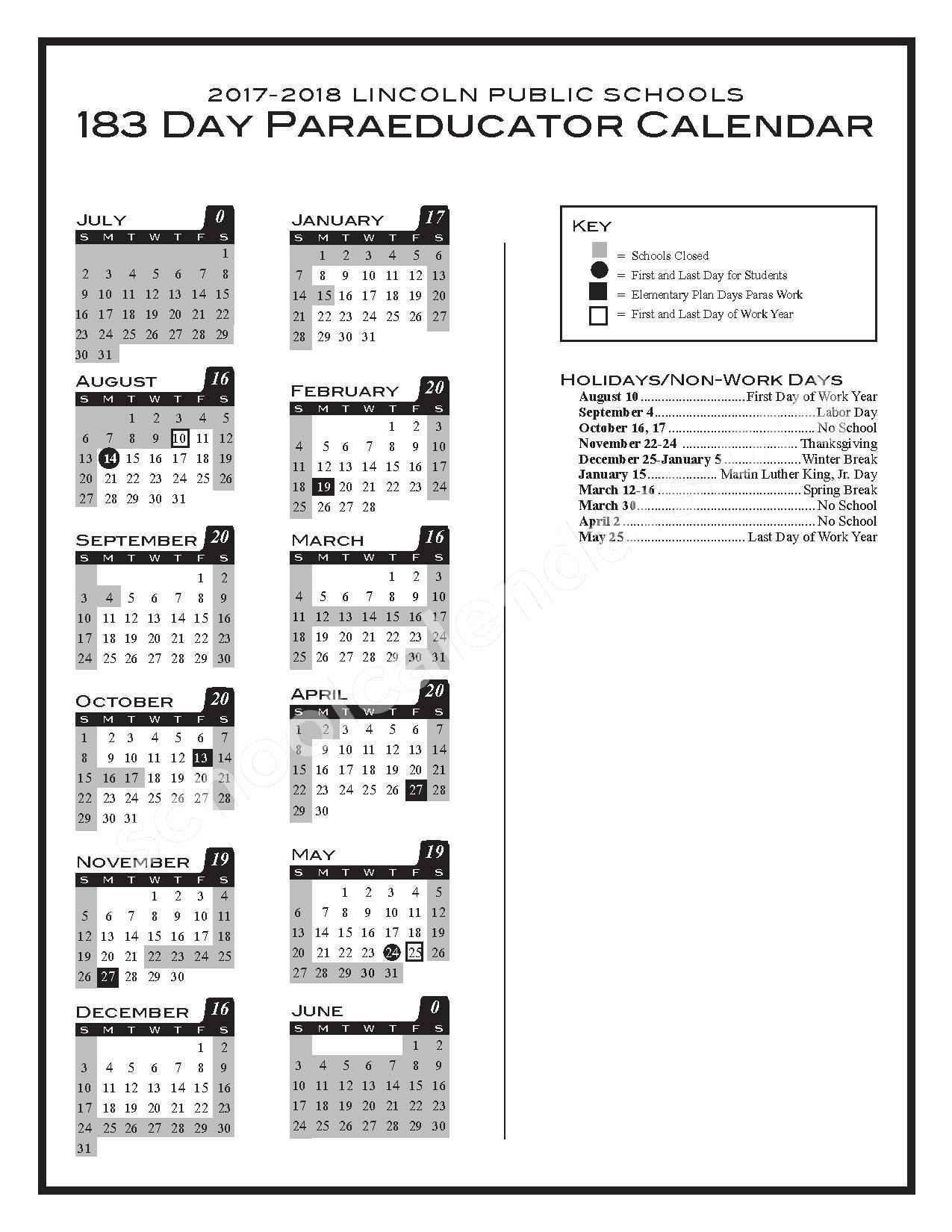 2017 - 2018 183-day Paraeducator Calendar – Lincoln Public Schools – page 1