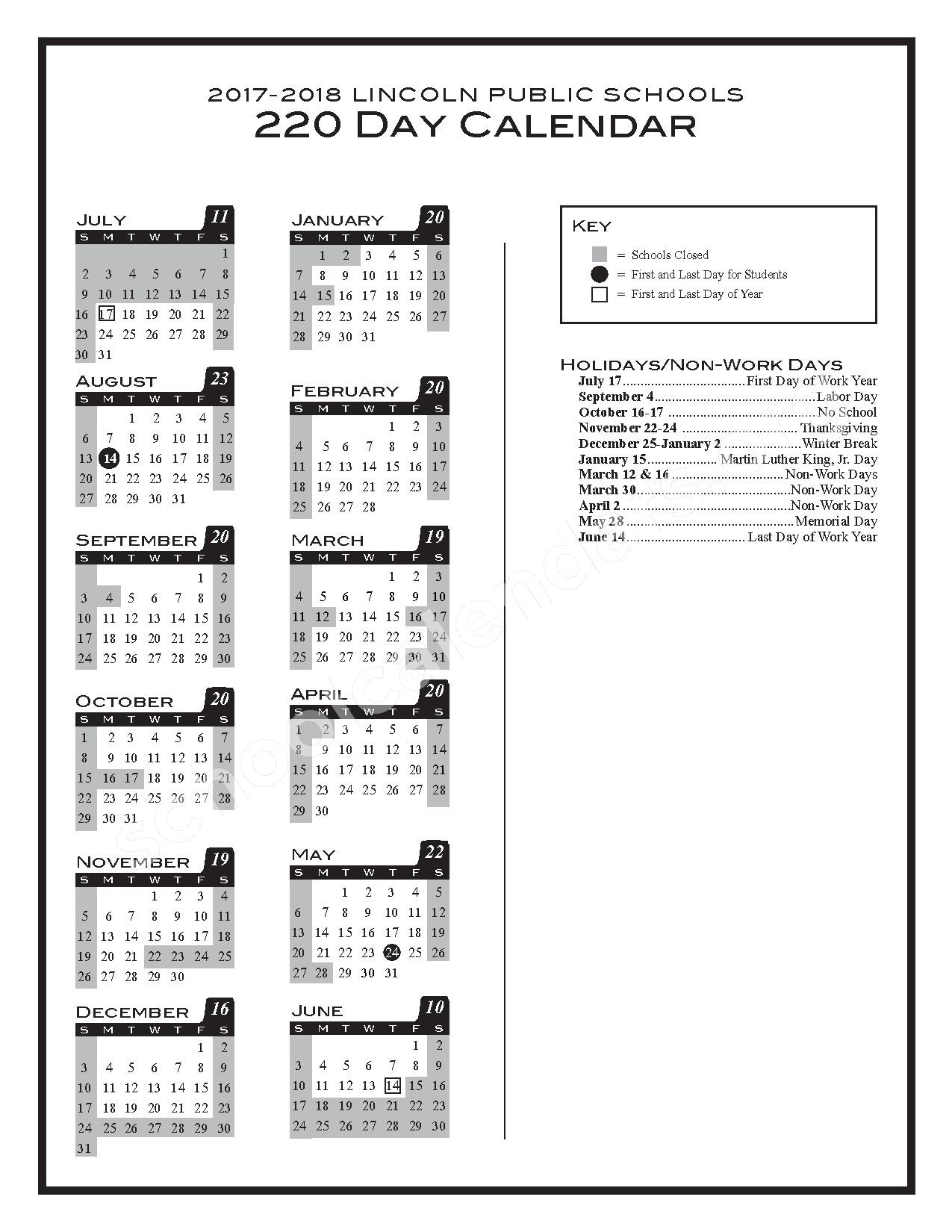 2017 - 2018 220-day Calendar – Lincoln Public Schools – page 1