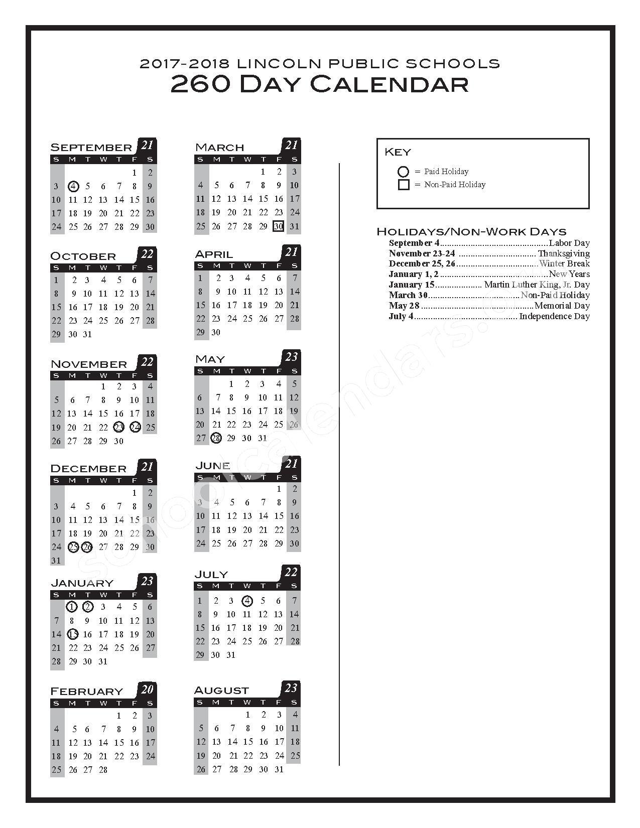 2017 - 2018 260-day Calendar – Lincoln Public Schools – page 1