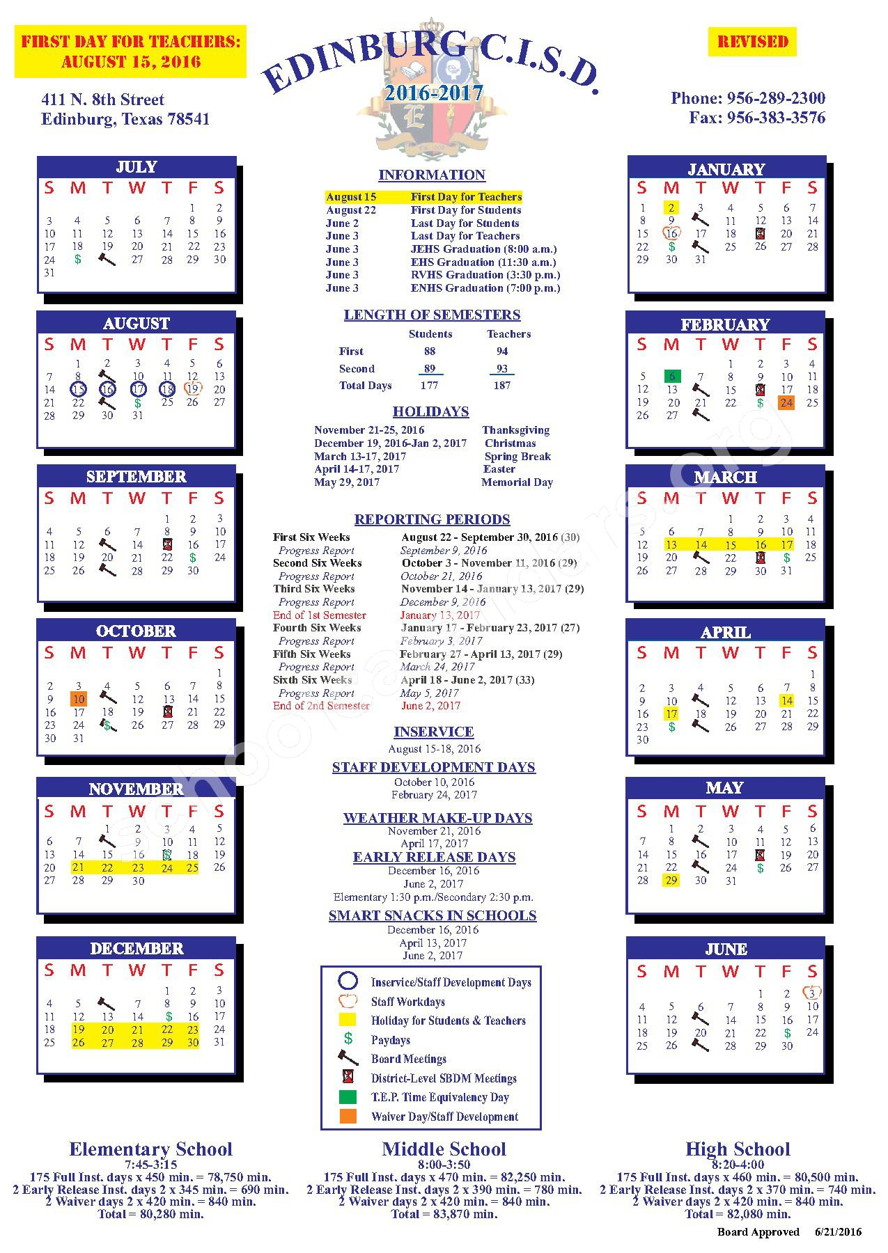 2016 - 2017 District Calendar – Edinburg Consolidated Independent School District – page 1