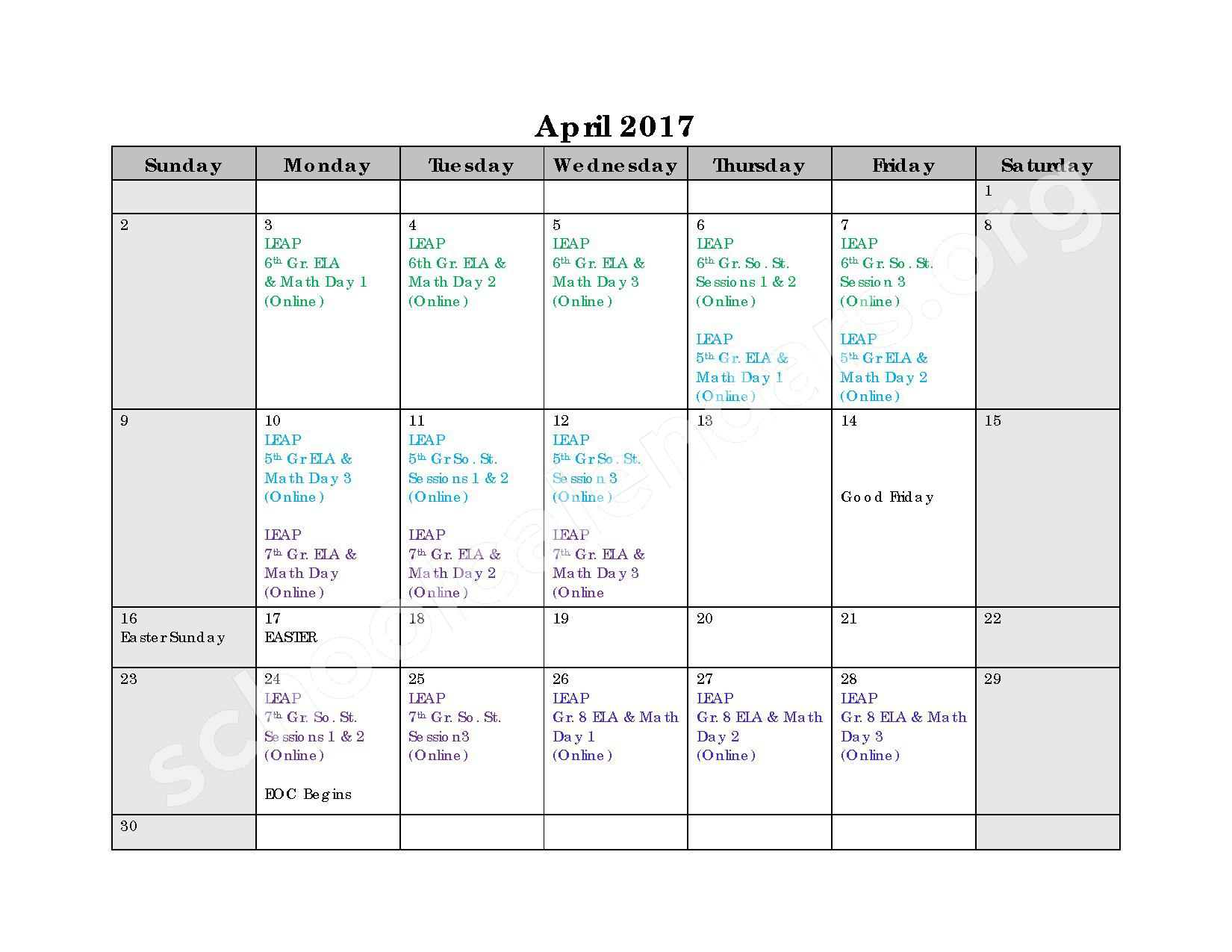 2016 - 2017 Assessment Calendar – Bell City High School – page 1