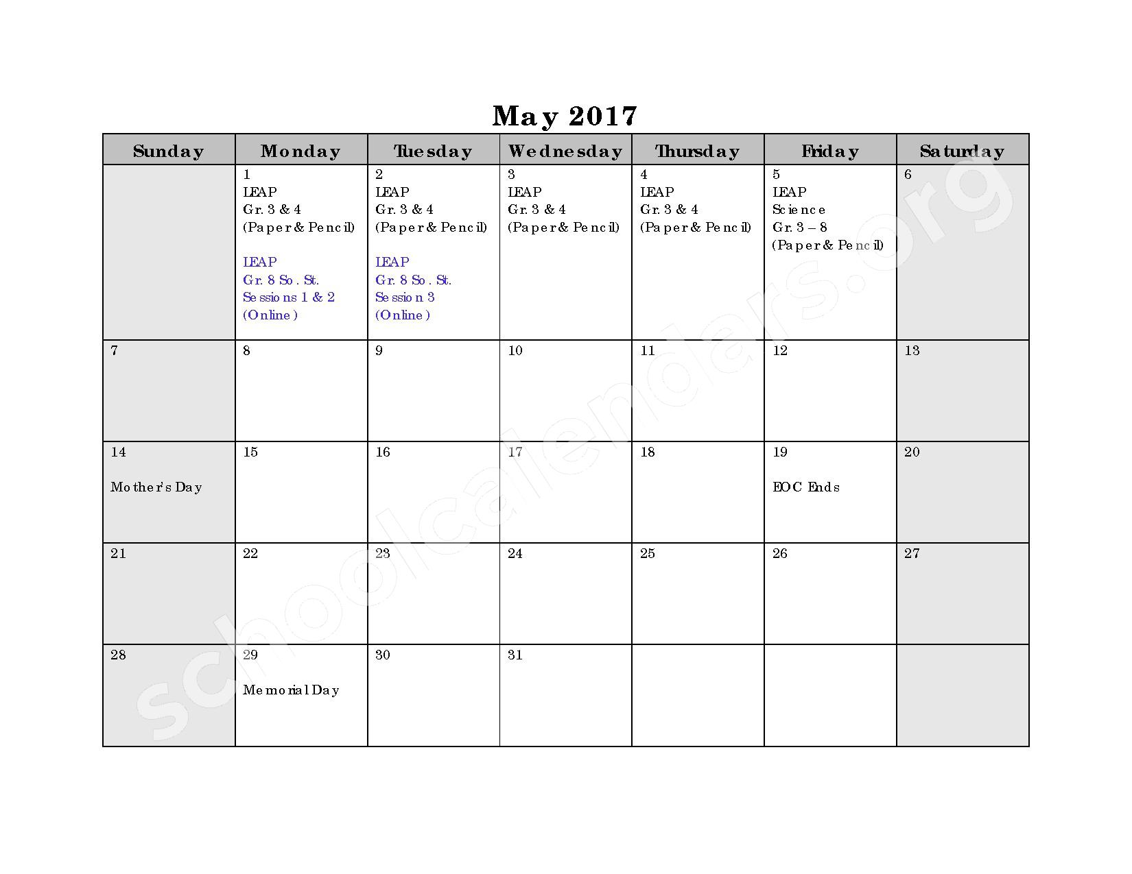 2016 - 2017 Assessment Calendar – Bell City High School – page 2