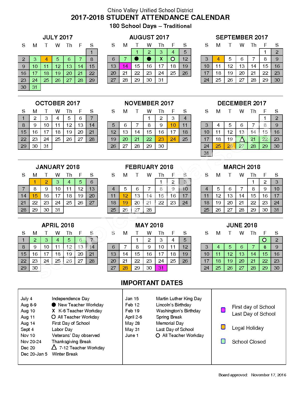 2017 - 2018 Student Attendance Calendar – Chino Valley Unified School District – page 1
