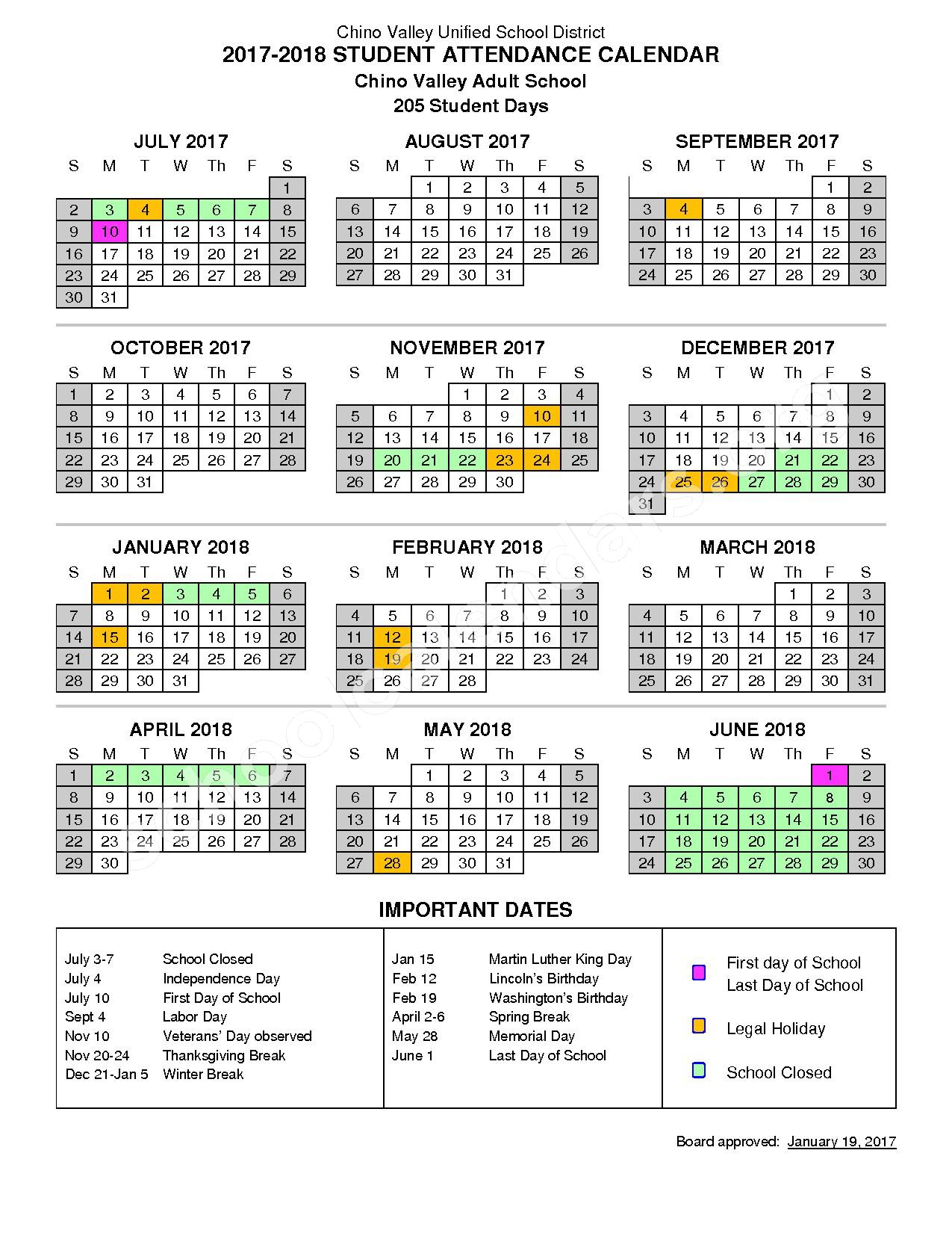 2017 - 2018 Adult School Calendar – Virtual High School – page 1