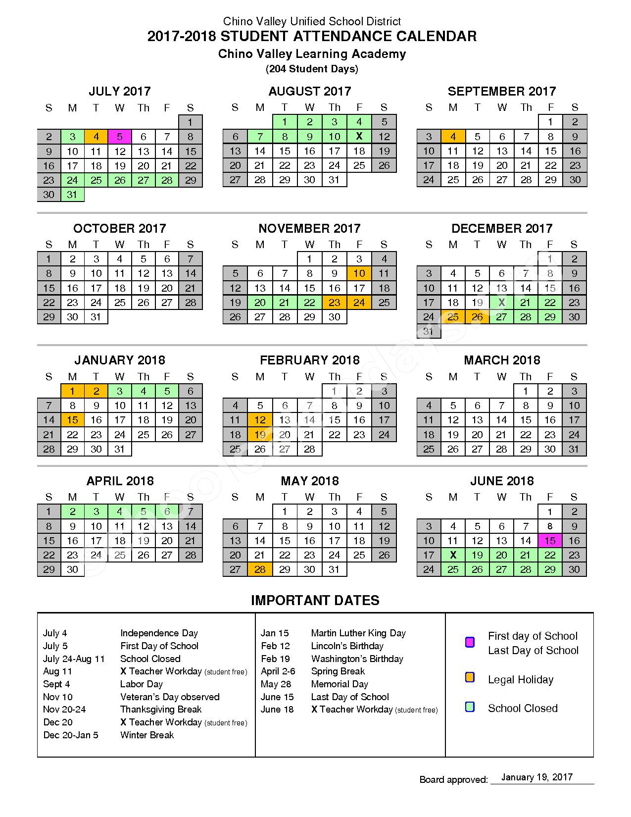 2017 - 2018 Chino Valley Learning Academy (CVLA) Calendar – Chino Valley Learning Academy – page 1