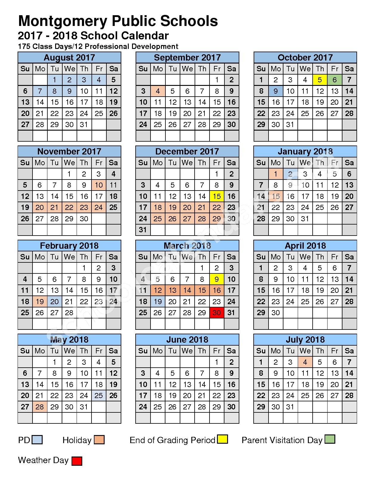 2017 - 2018 MCPS Calendar – Paterson Academy of Creative Education – page 1