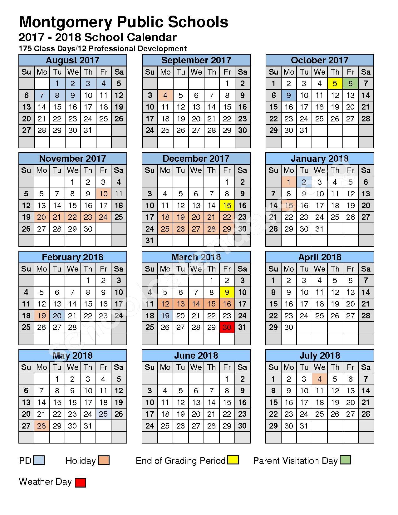 2017 - 2018 MCPS Calendar – Montgomery County Public Schools – page 1