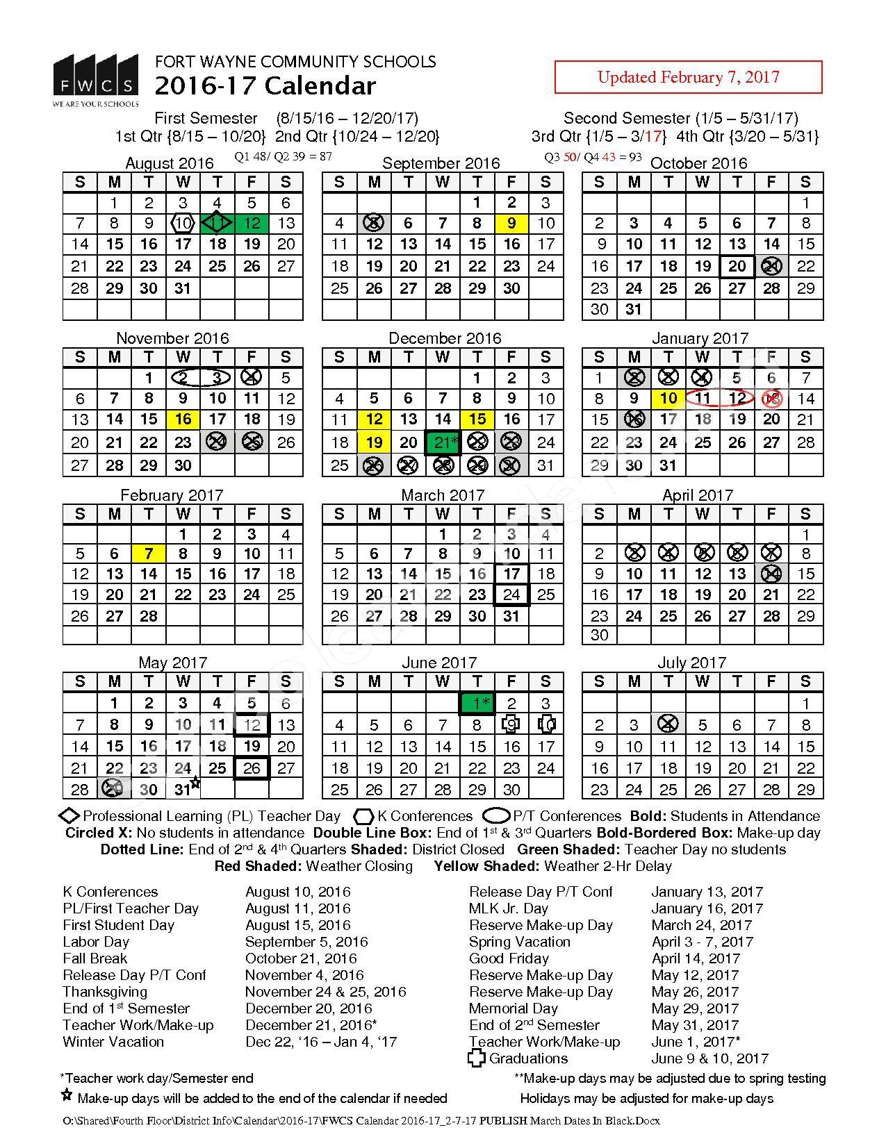 2016- 2017 FWCS School Calendar (Updated) – Fort Wayne Community Schools – page 1