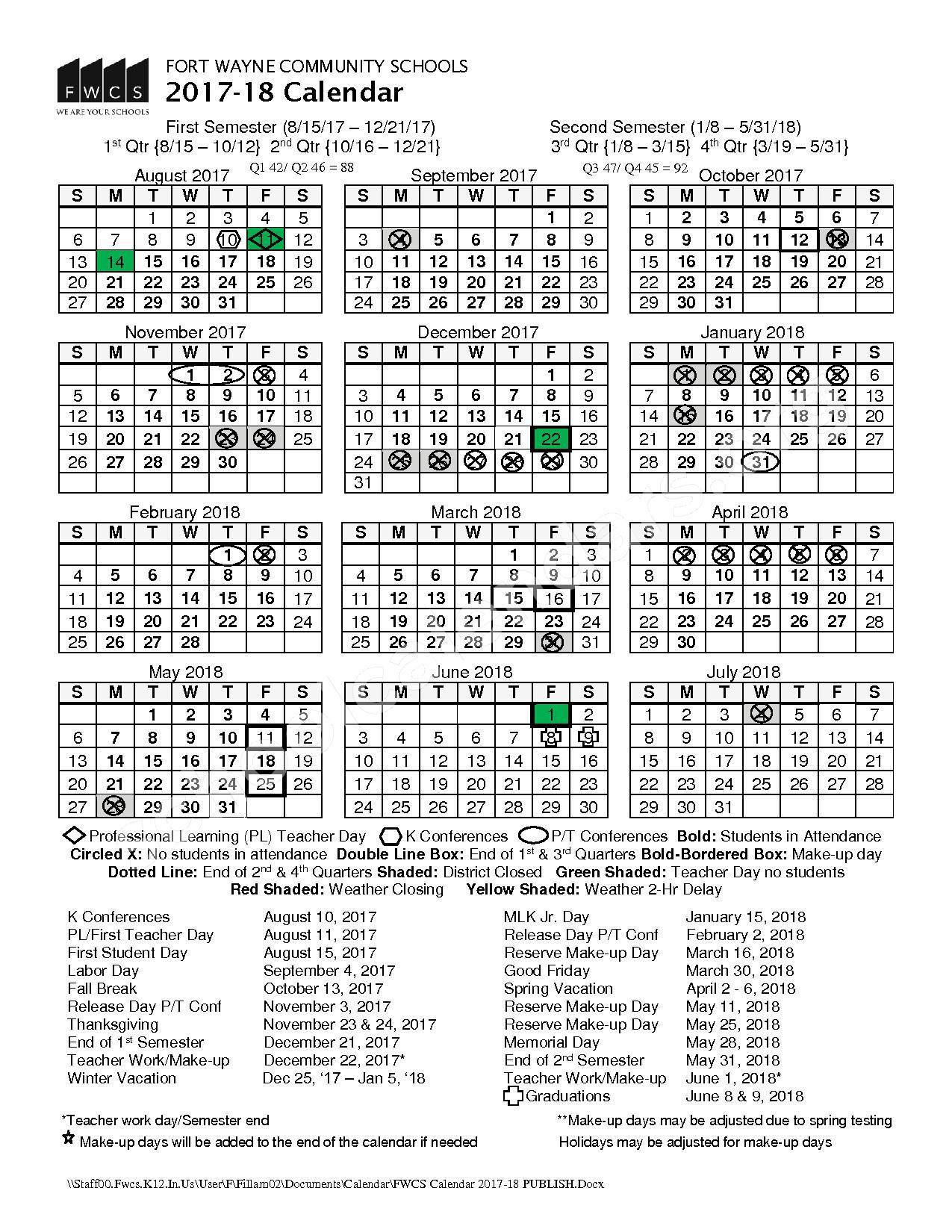 2017 - 2018 FWCS Calendar – Fort Wayne Community Schools – page 1