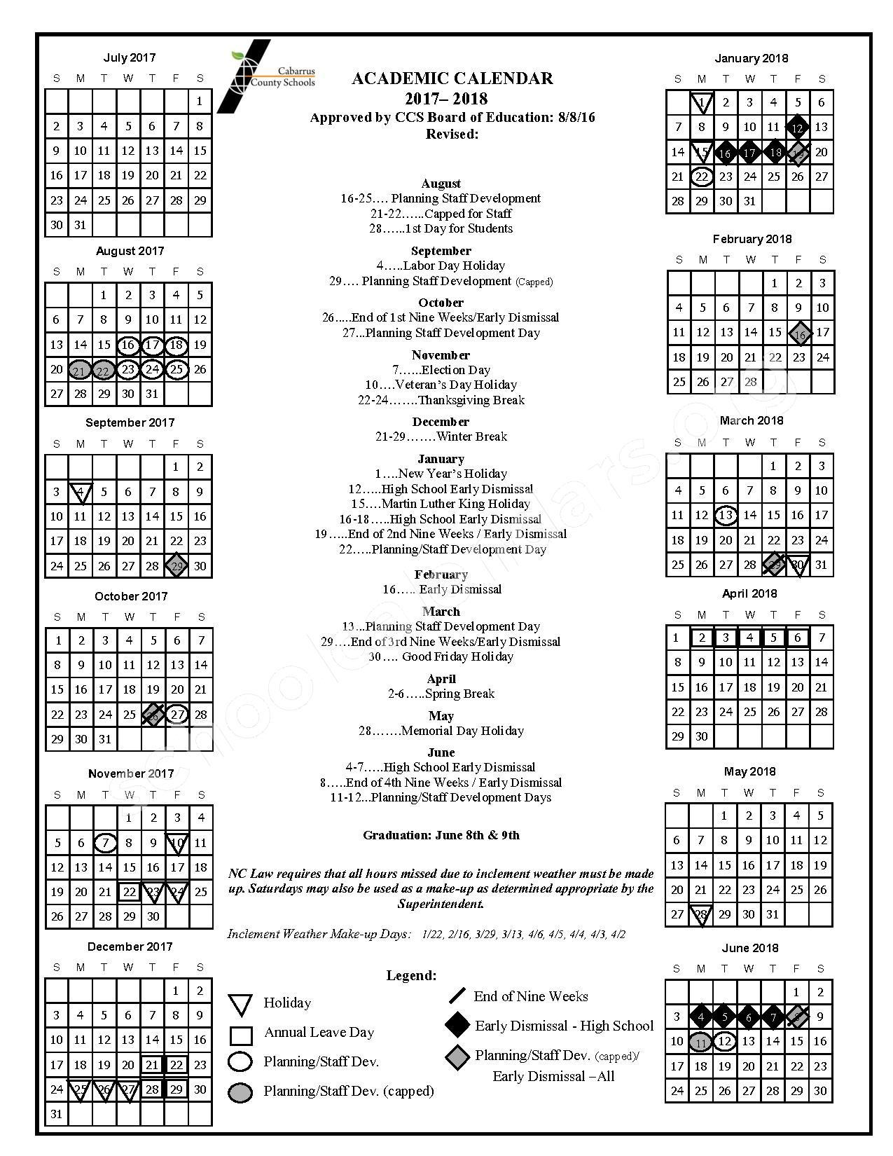 2017 - 2018 School Calendar – Cabarrus County Schools – page 1