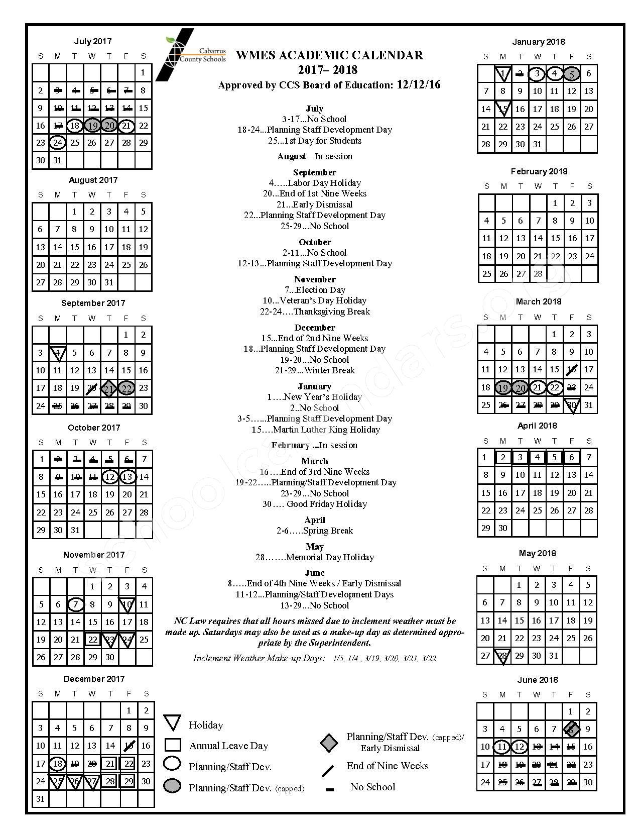 2017 - 2018 Wolf Meadow Elementary Balanced Calendar – Wolf Meadow Elementary School – page 1