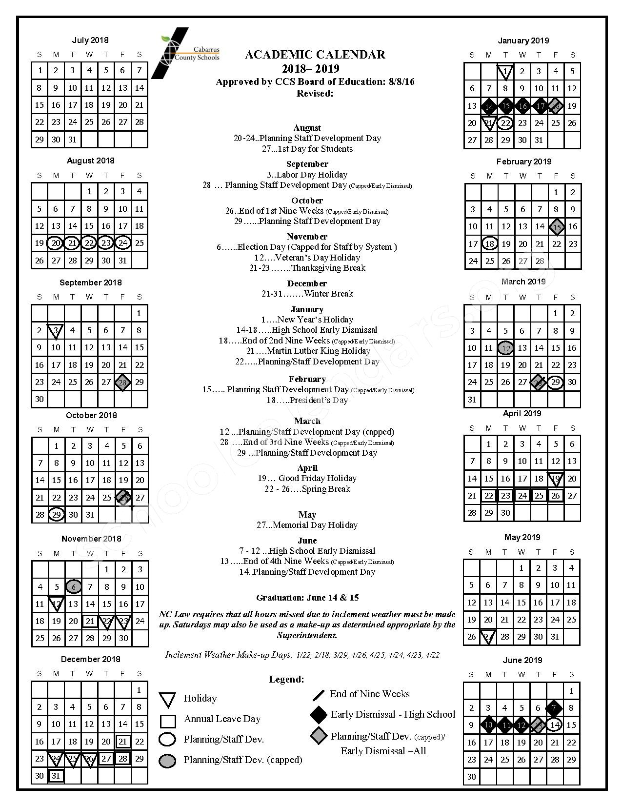 2018 - 2019 School Calendar – Cabarrus-Kannapolis Early College – page 1