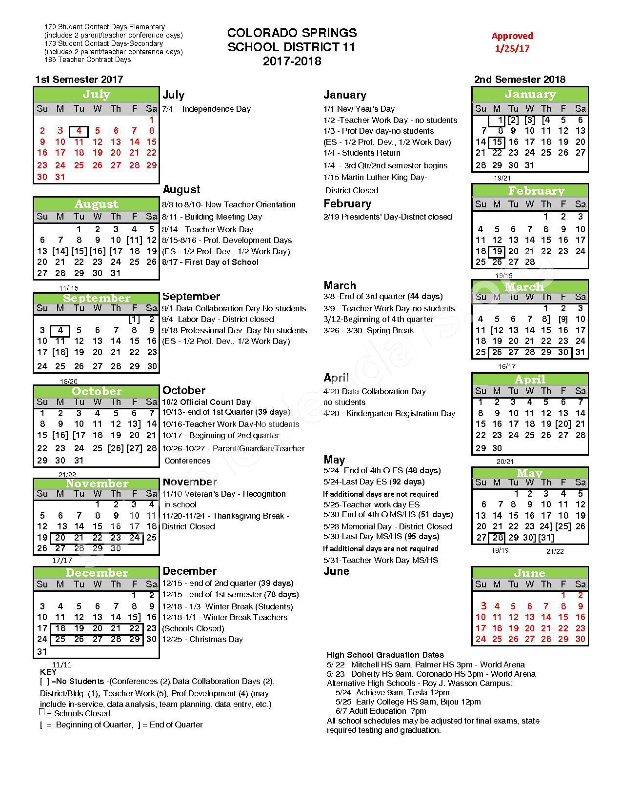 2017 - 2018 District Calendar – Colorado Springs School District 11 – page 1