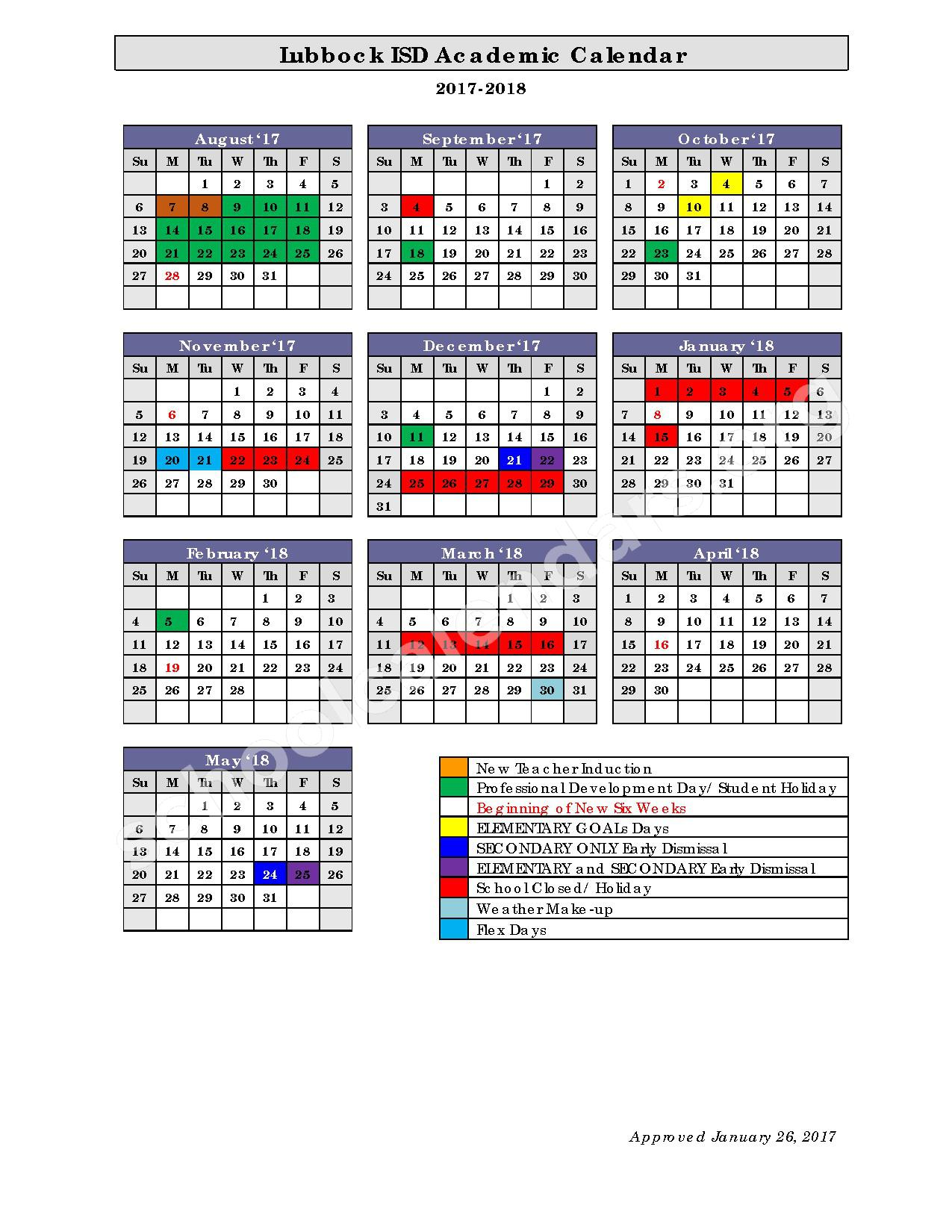 2017 - 2018 Academic Calendar – Lubbock Independent School District – page 1