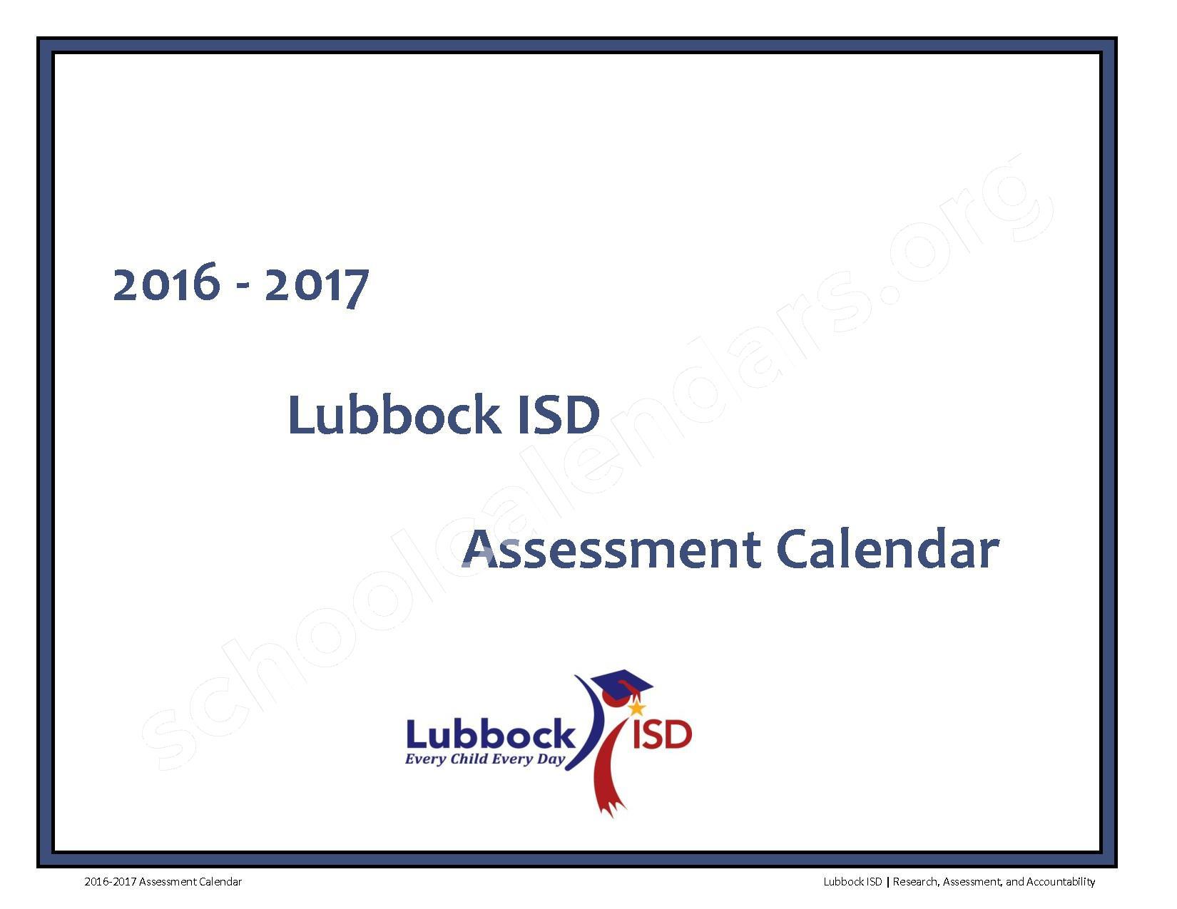 2016 - 2017 LISD Testing Calendar – Jackson Elementary School – page 1