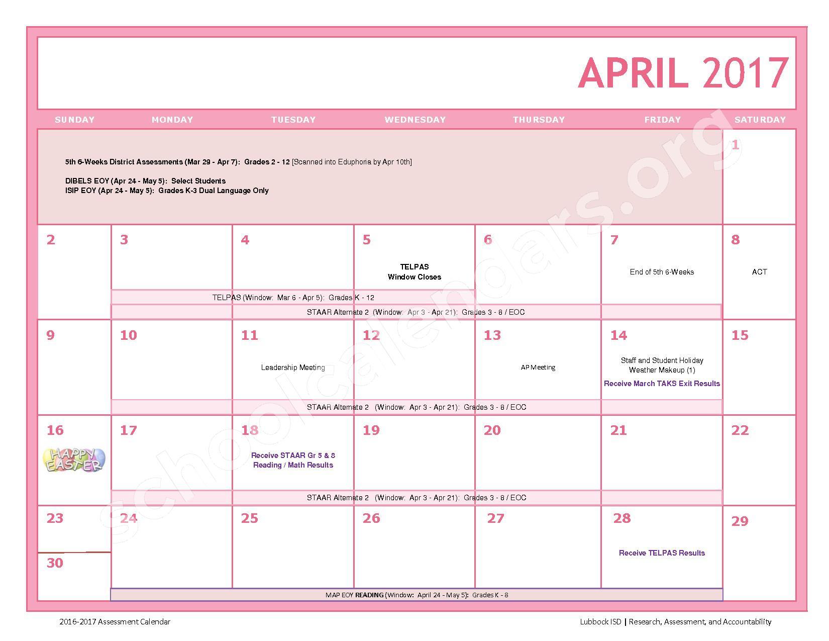 2016 - 2017 LISD Testing Calendar – Jackson Elementary School – page 10