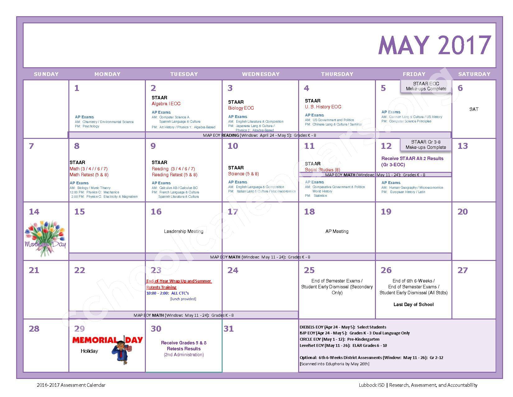 2016 - 2017 LISD Testing Calendar – Jackson Elementary School – page 11