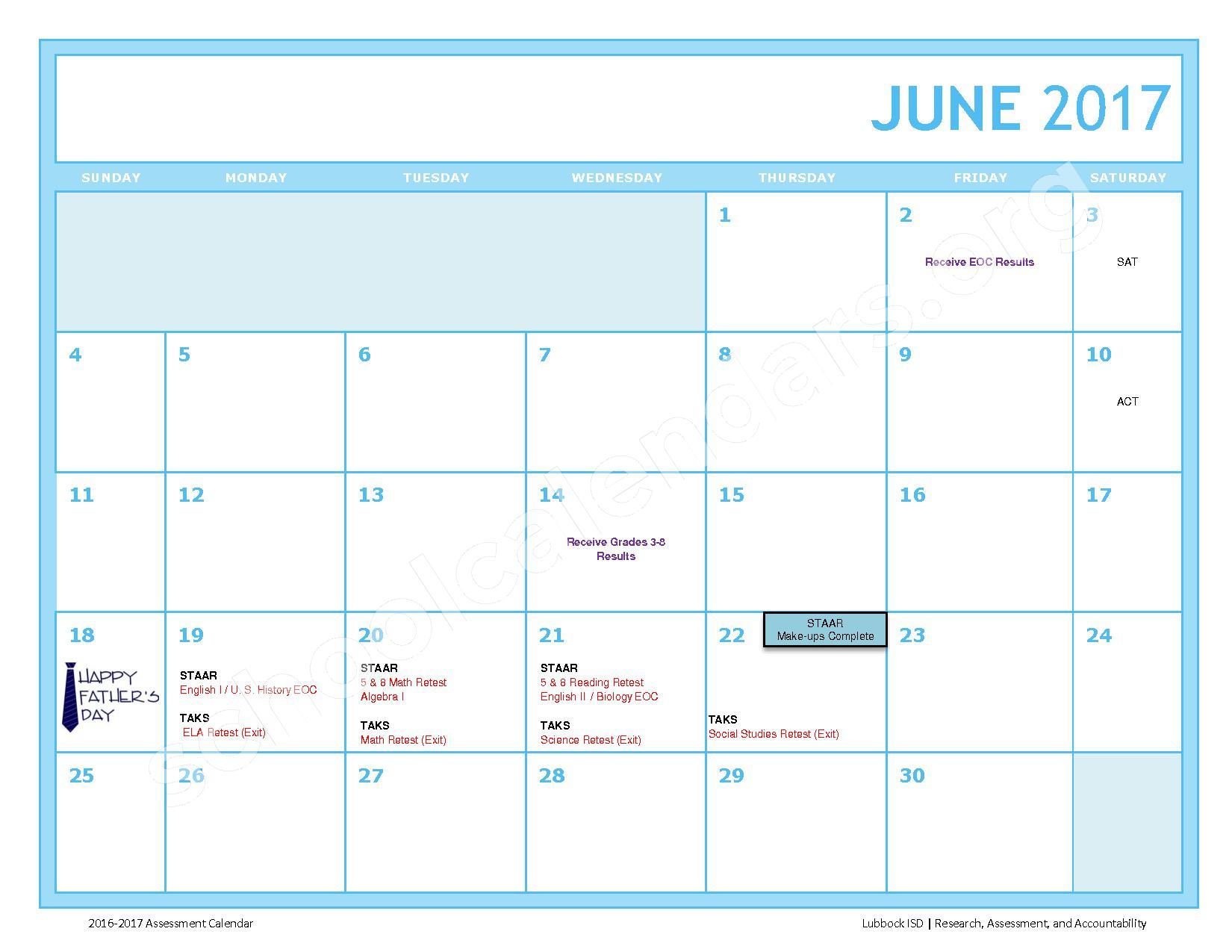 2016 - 2017 LISD Testing Calendar – Jackson Elementary School – page 12
