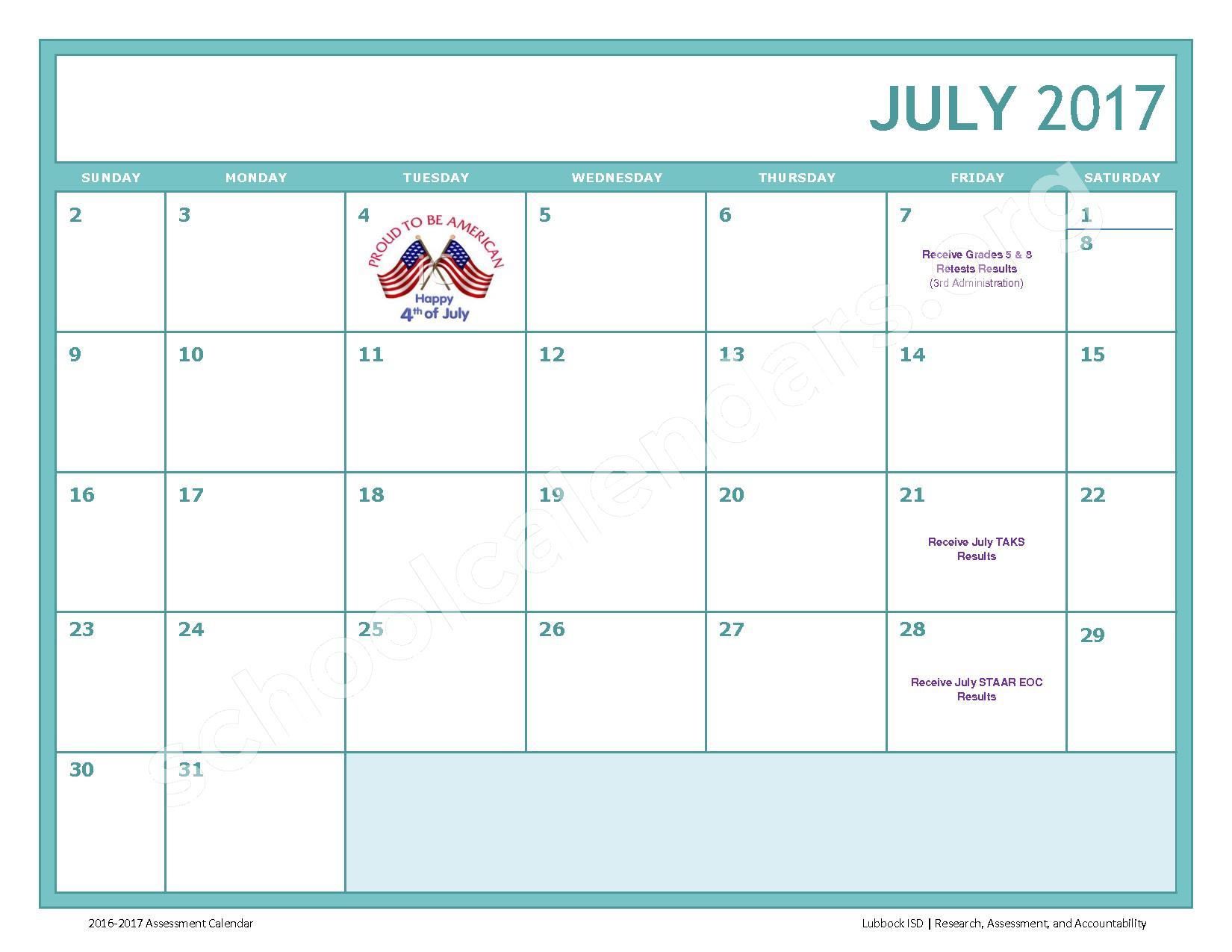 2016 - 2017 LISD Testing Calendar – Jackson Elementary School – page 13