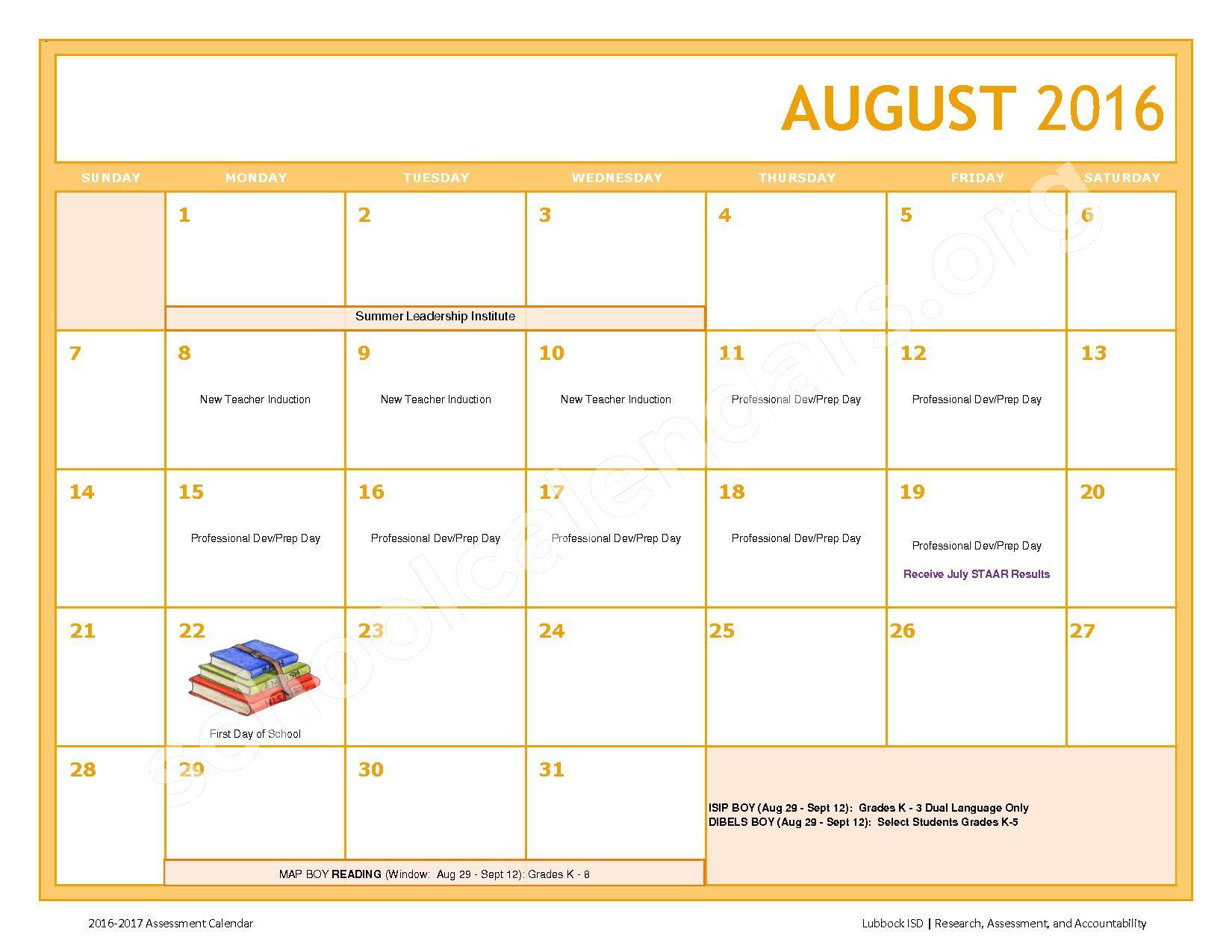 2016 - 2017 LISD Testing Calendar – Jackson Elementary School – page 2