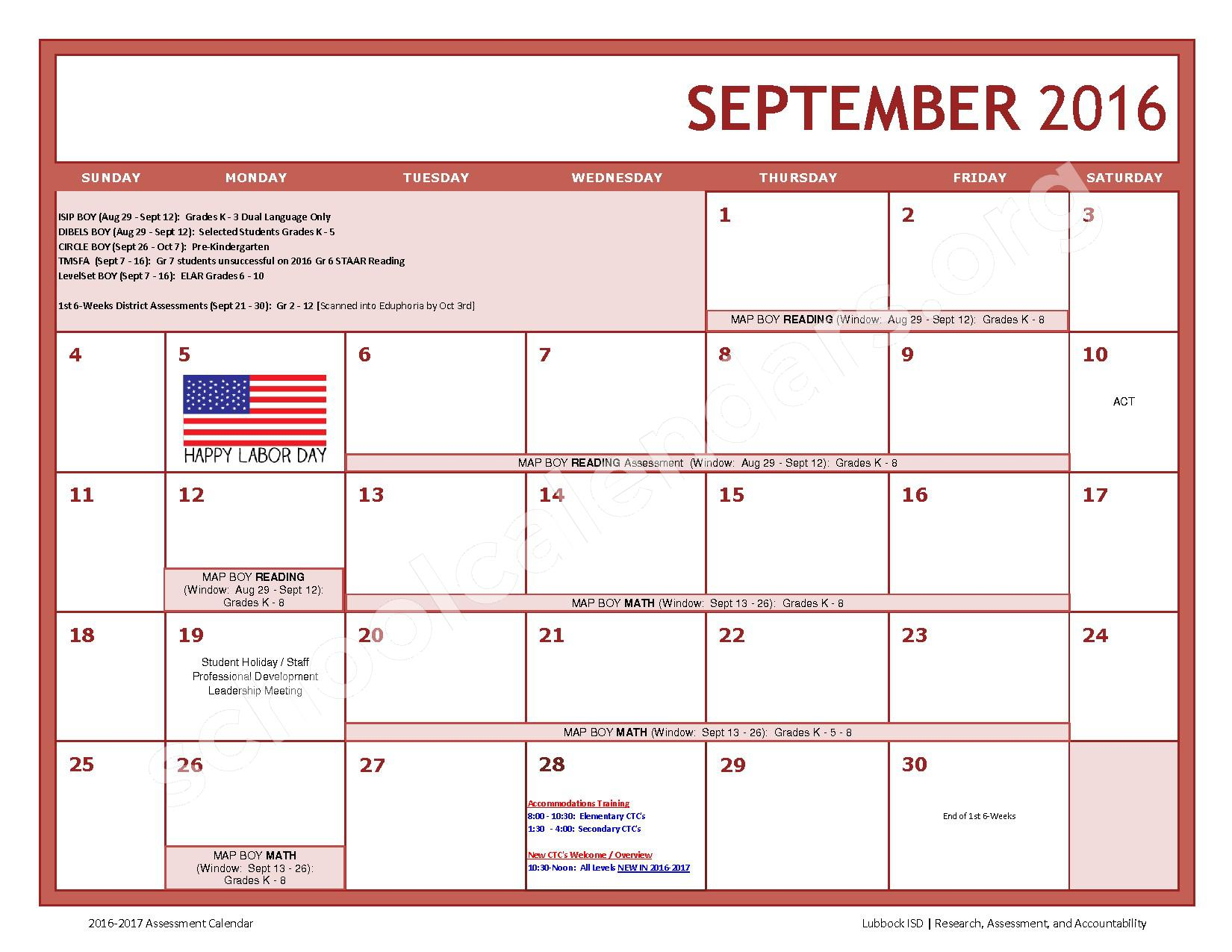 2016 - 2017 LISD Testing Calendar – Jackson Elementary School – page 3