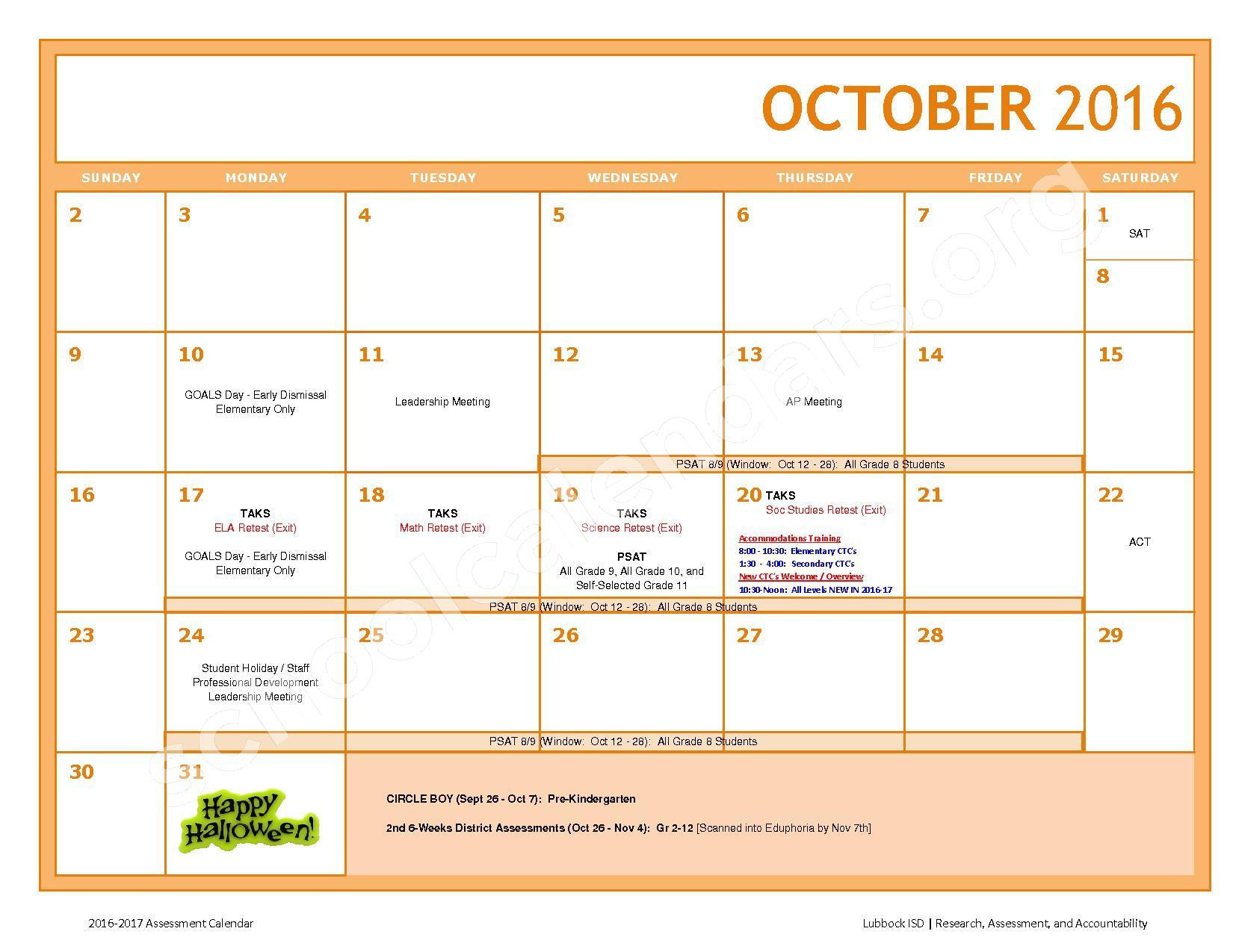 2016 - 2017 LISD Testing Calendar – Jackson Elementary School – page 4