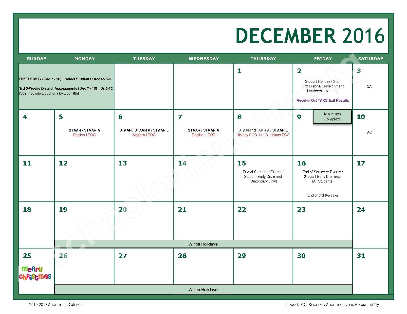 2016 - 2017 LISD Testing Calendar – Jackson Elementary School – page 6