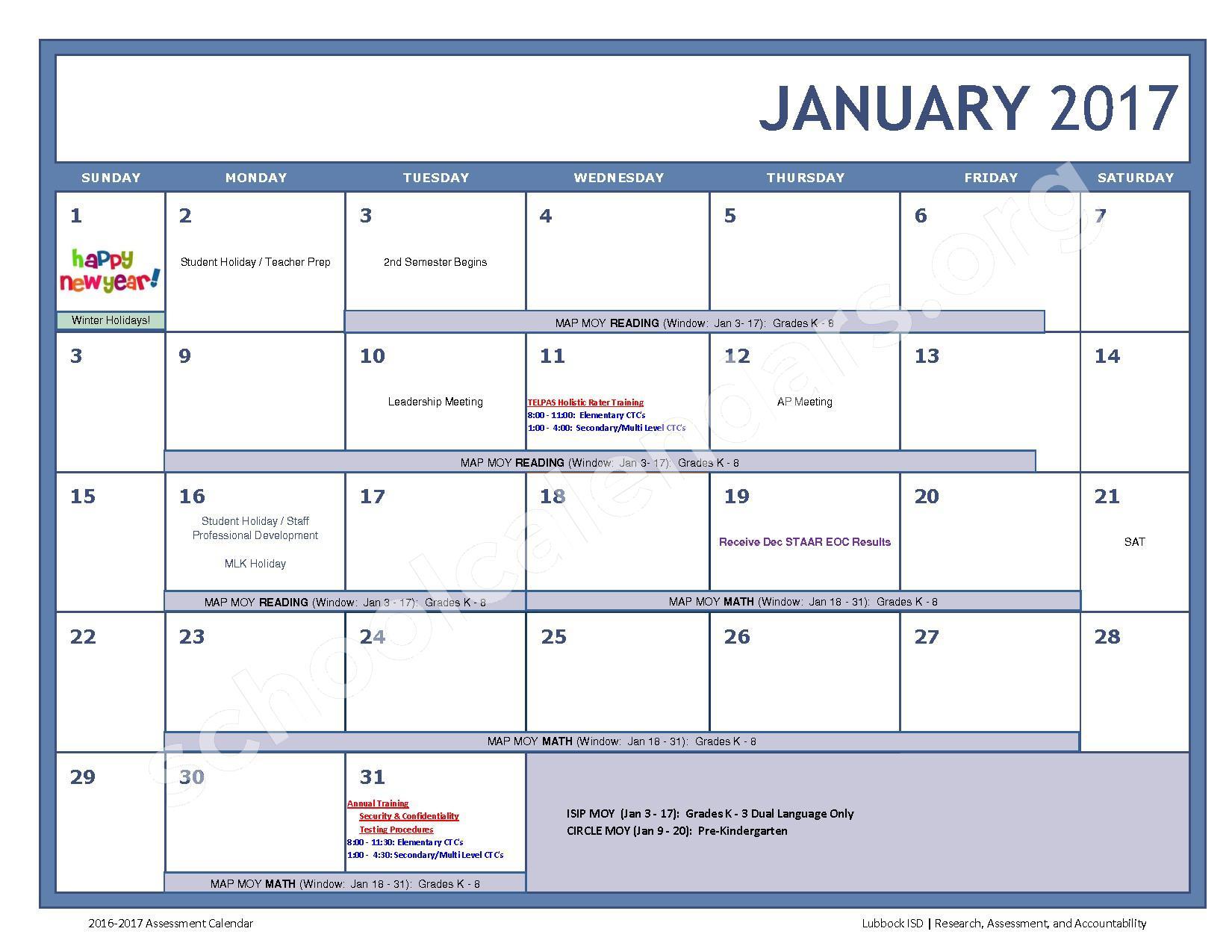 2016 - 2017 LISD Testing Calendar – Jackson Elementary School – page 7