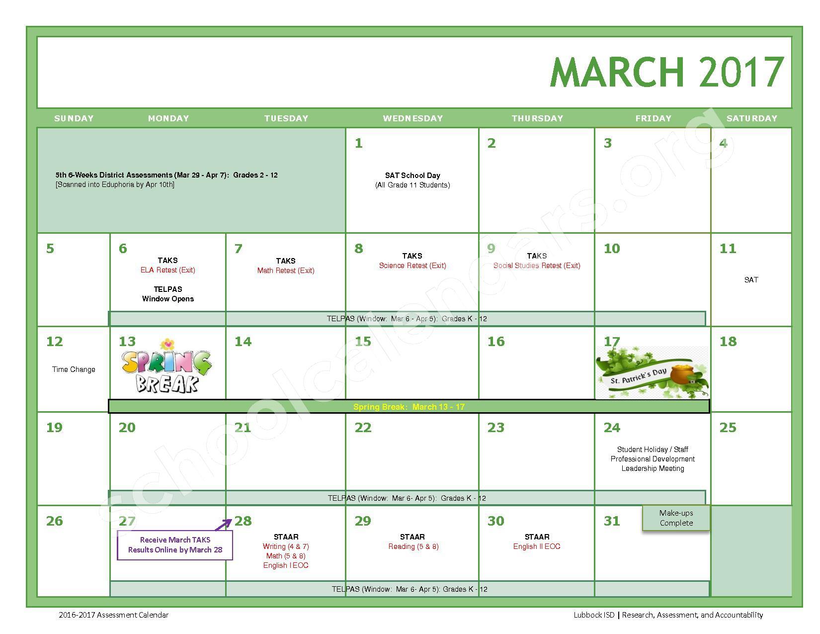 2016 - 2017 LISD Testing Calendar – Jackson Elementary School – page 9