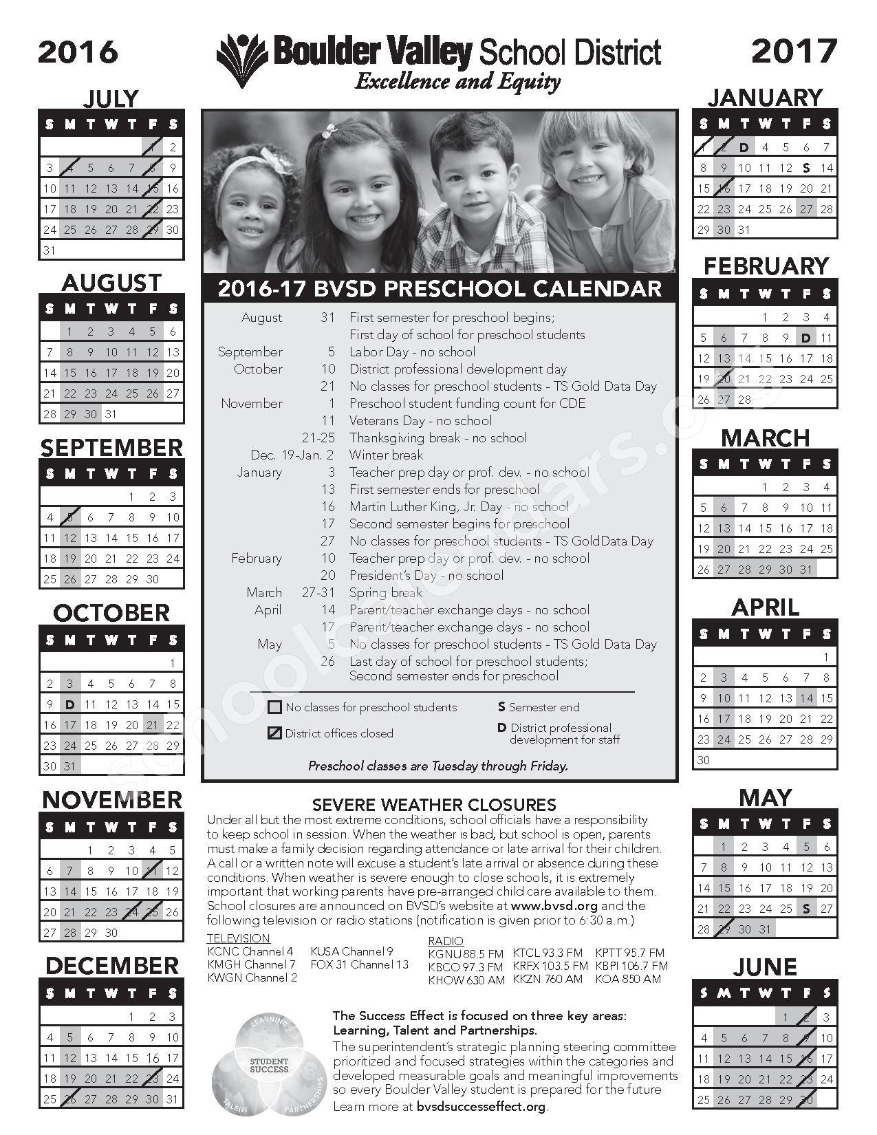 2016 - 2017 Preschool Calendar – Boulder Valley School District – page 1