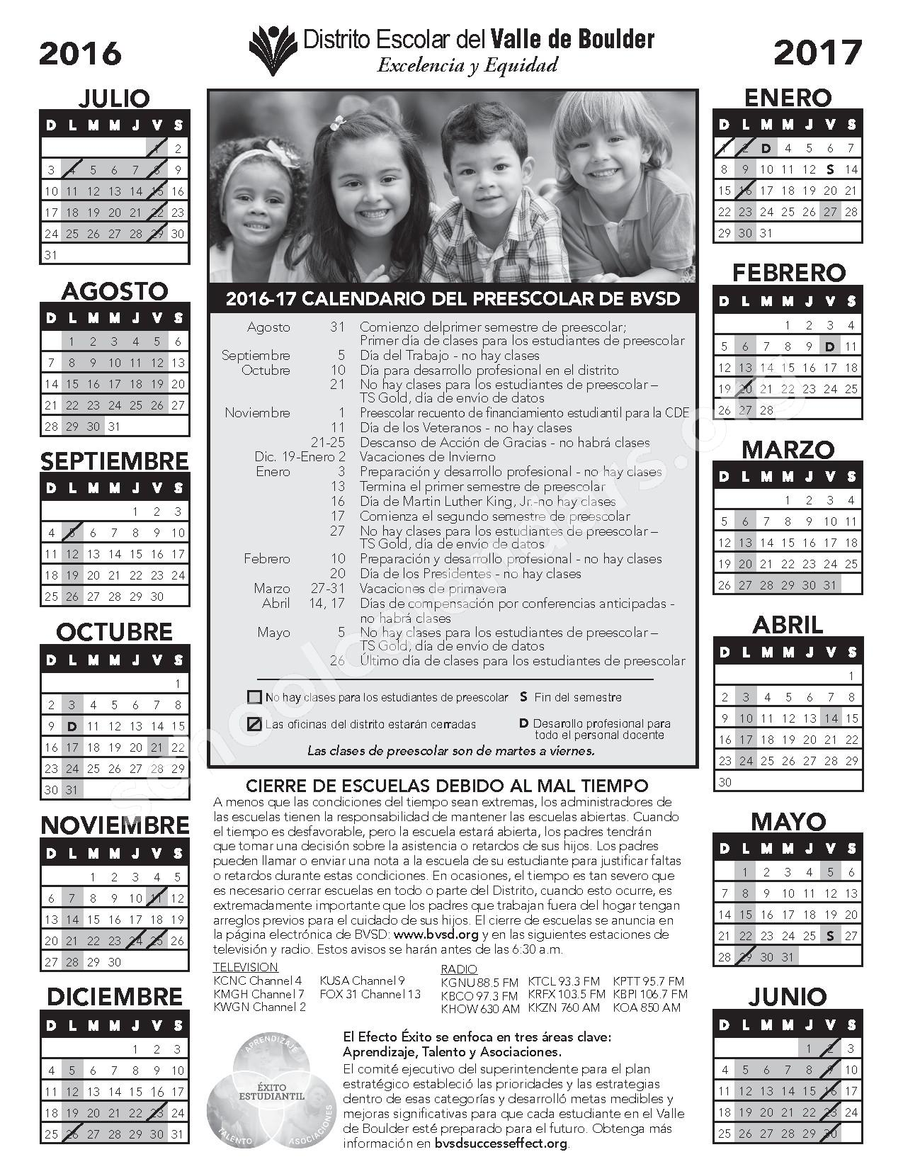 2016 - 2017 Calendario Del Preescolar – Nederland Middle-Senior High School – page 1